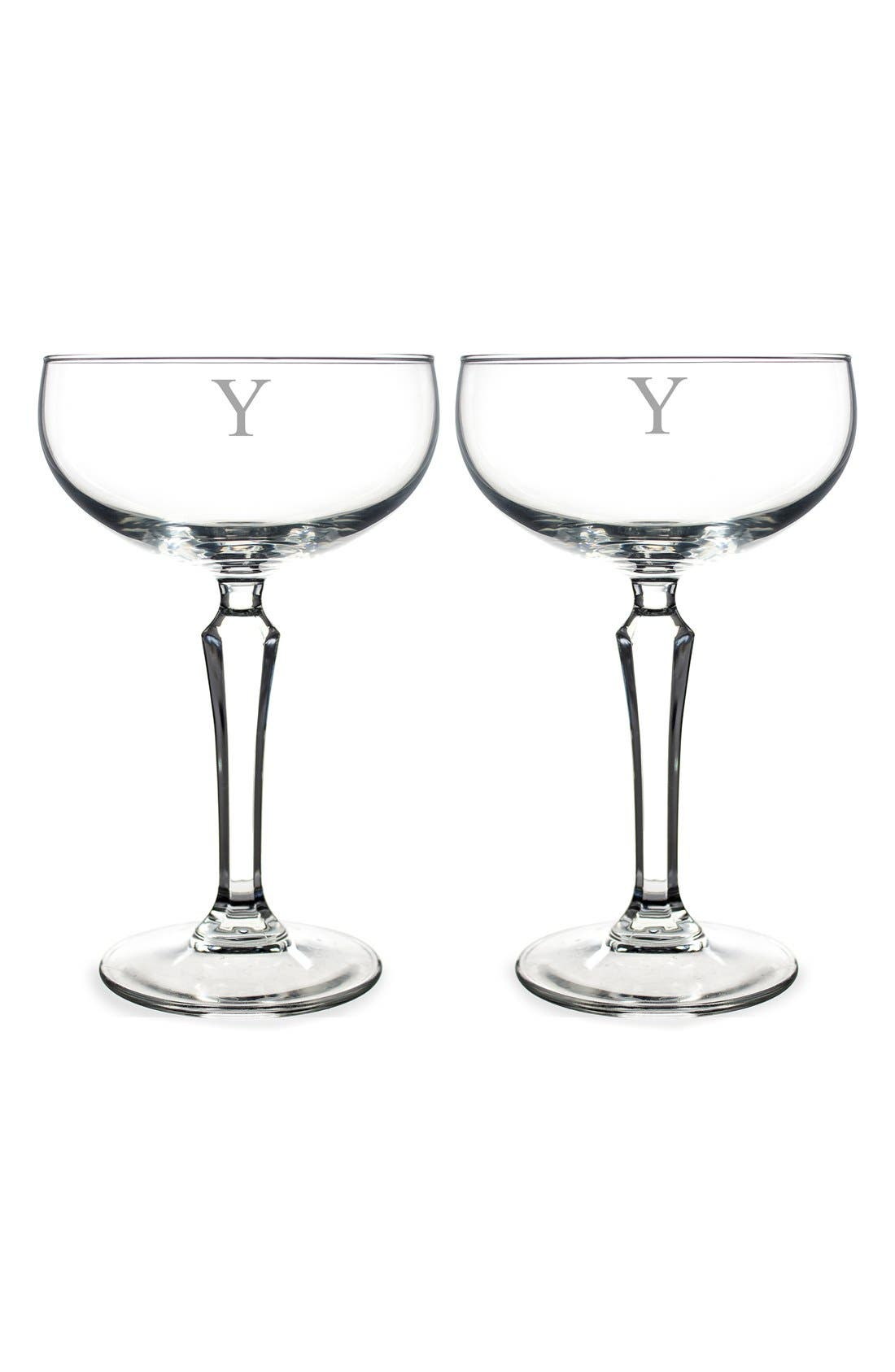 Monogram Coupe Cocktail/Champagne Glasses,                             Main thumbnail 26, color,