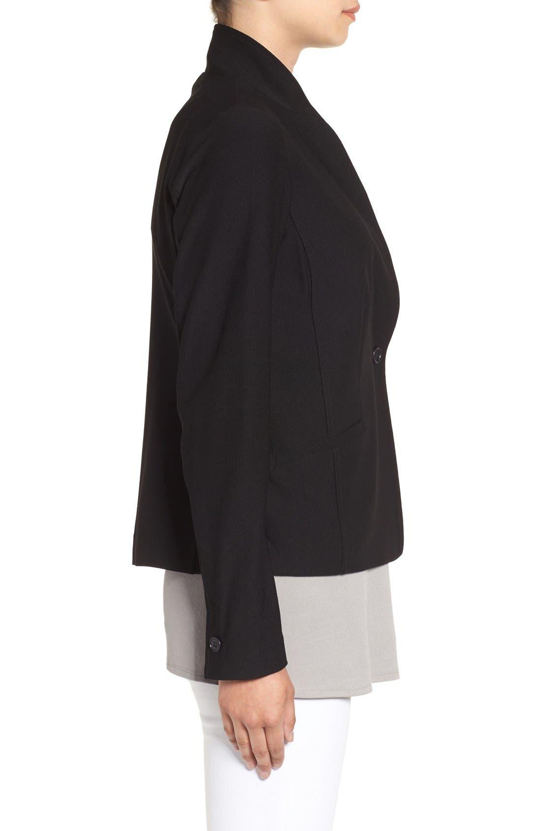 Washable Stretch Crepe Jacket,                             Alternate thumbnail 4, color,                             BLACK