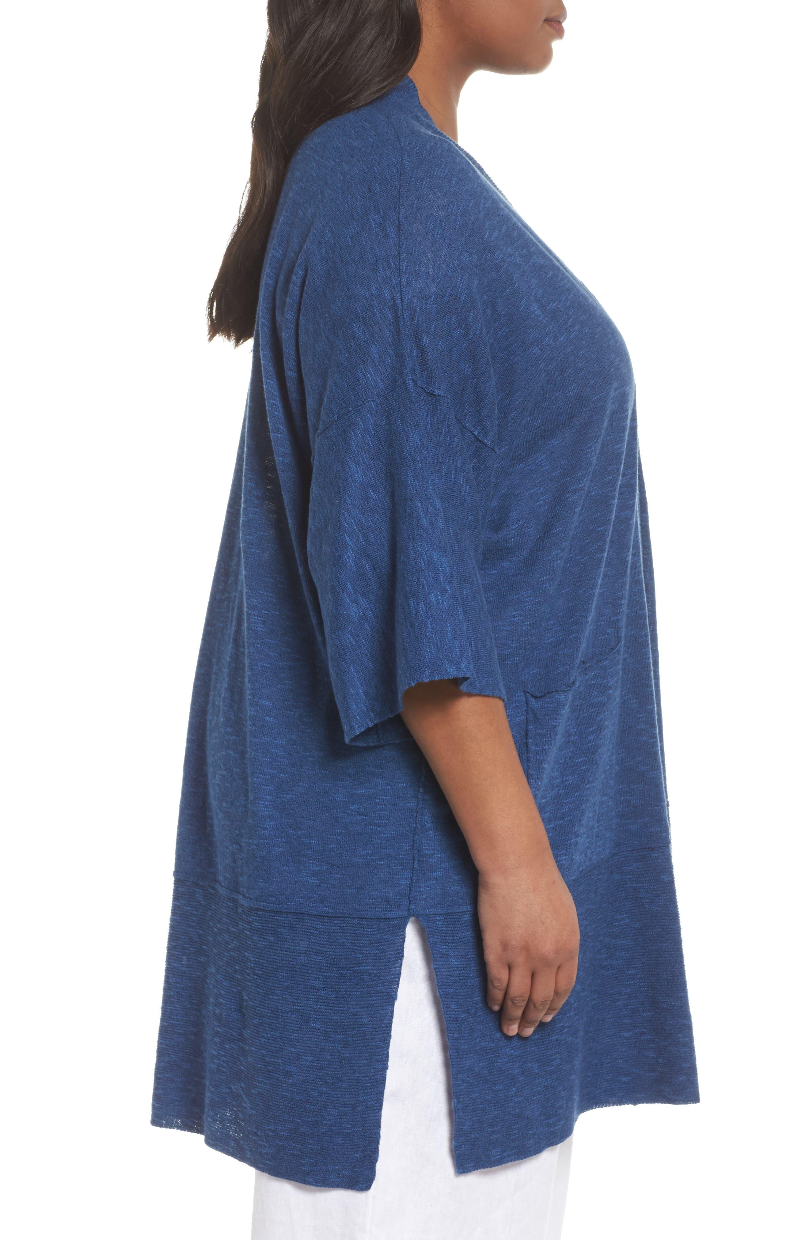 Organic Linen & Cotton Kimono Cardigan,                             Alternate thumbnail 7, color,