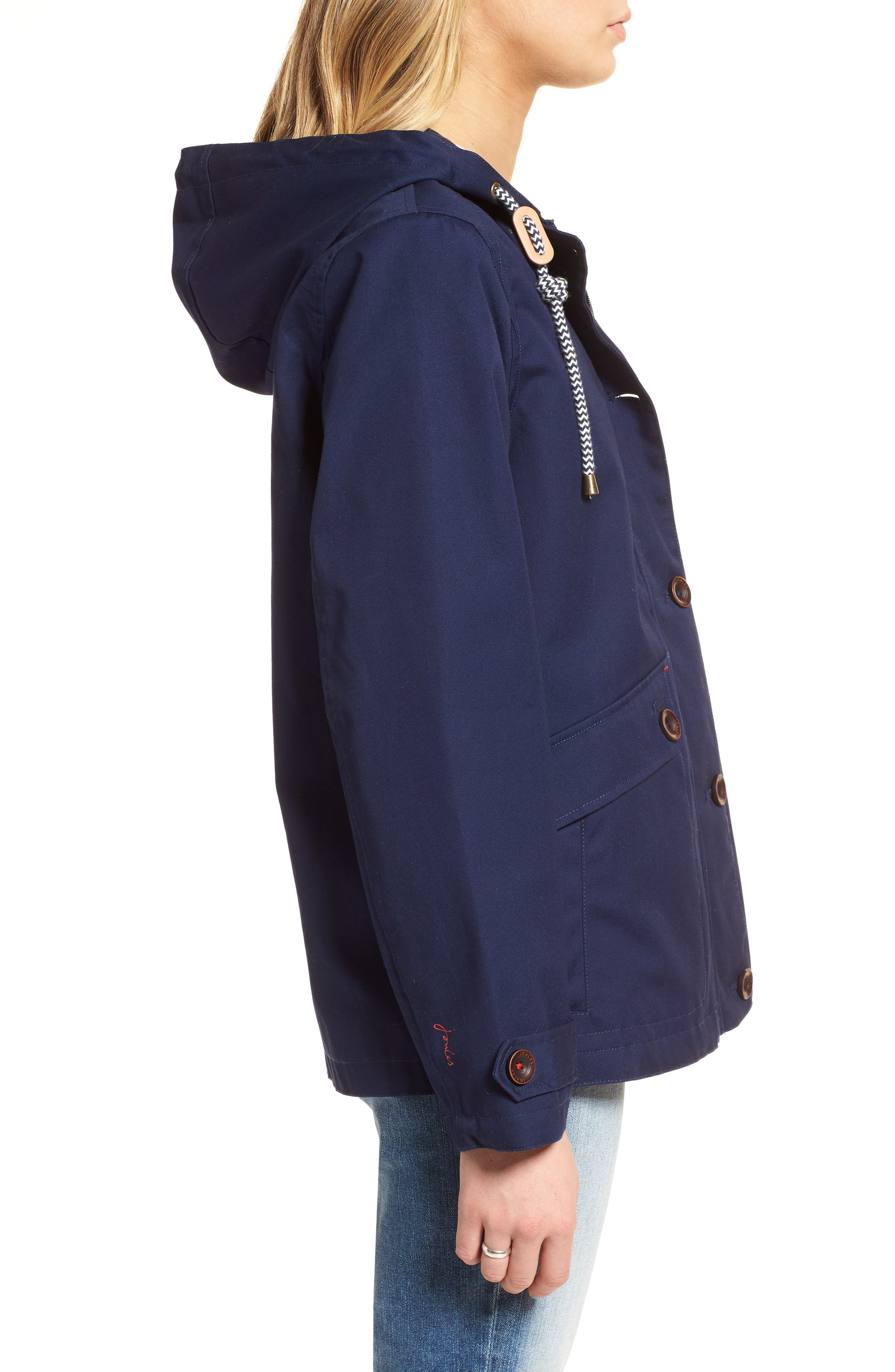 Right as Rain Waterproof Hooded Jacket,                             Alternate thumbnail 3, color,                             FRENCH NAVY