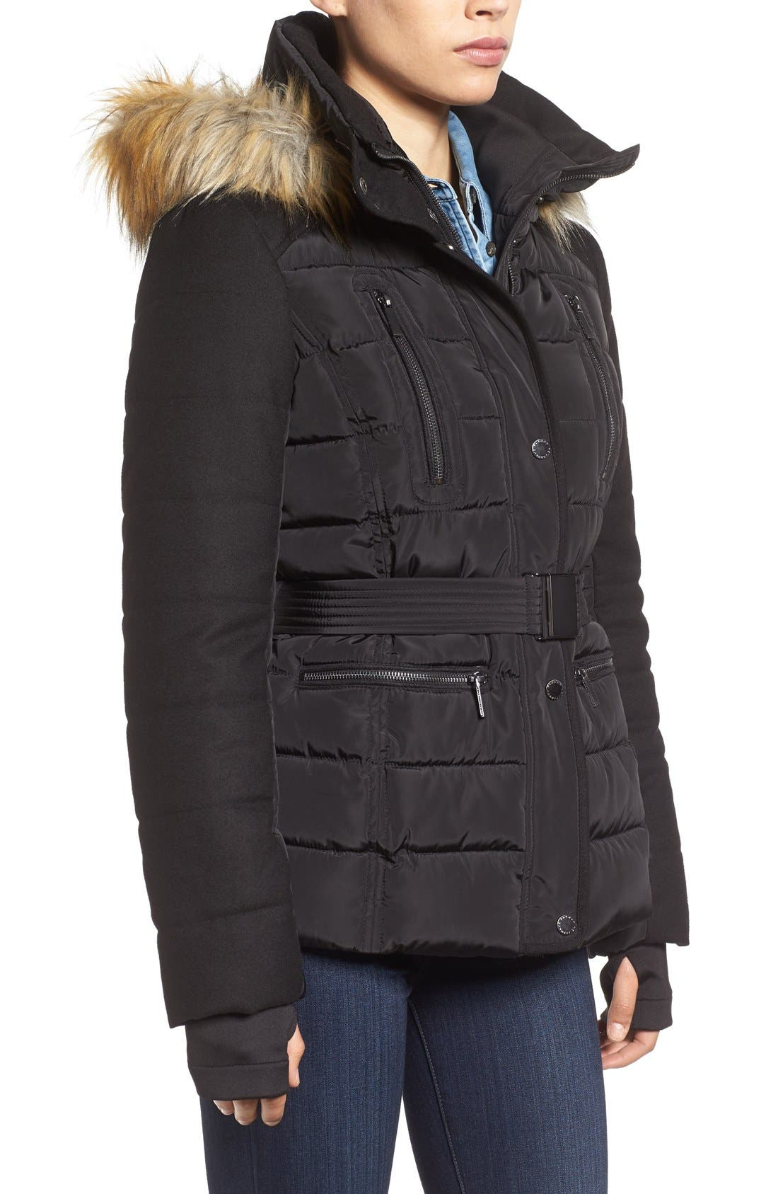 Belted Quilted Jacket with Faux Fur Trim,                             Alternate thumbnail 3, color,                             001