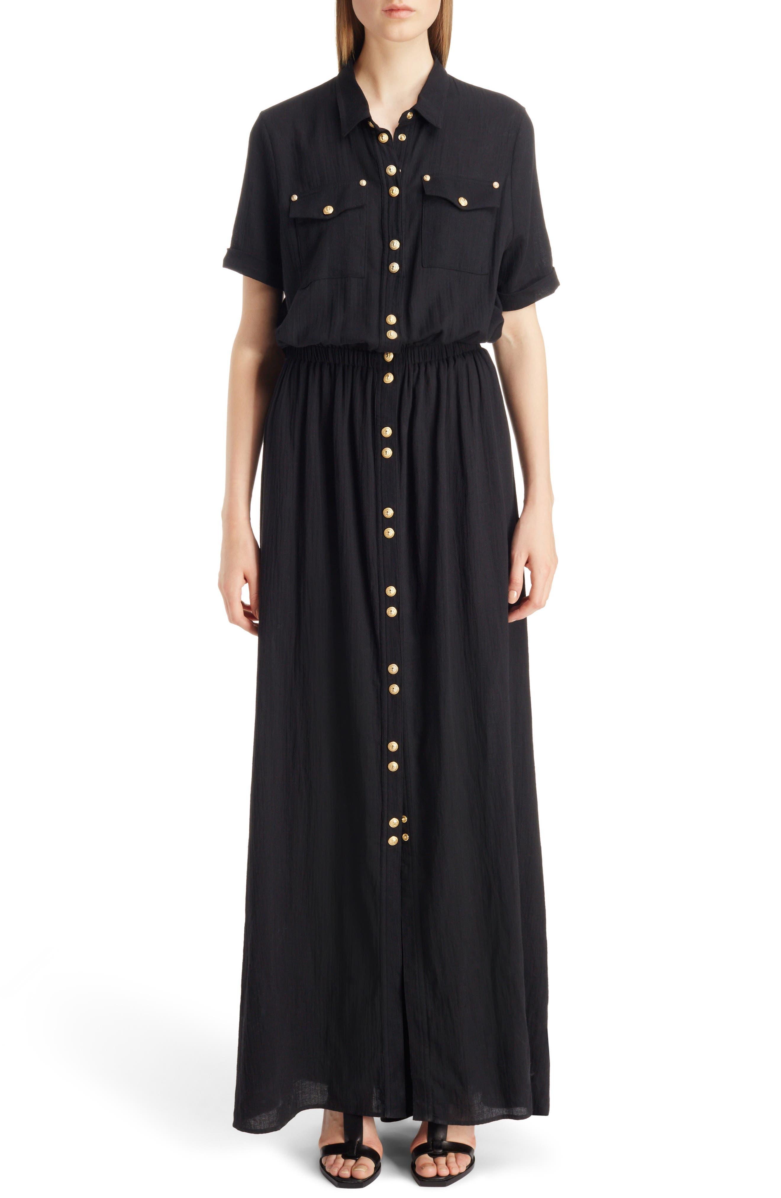 Button Front Cotton Maxi Dress,                         Main,                         color, 001