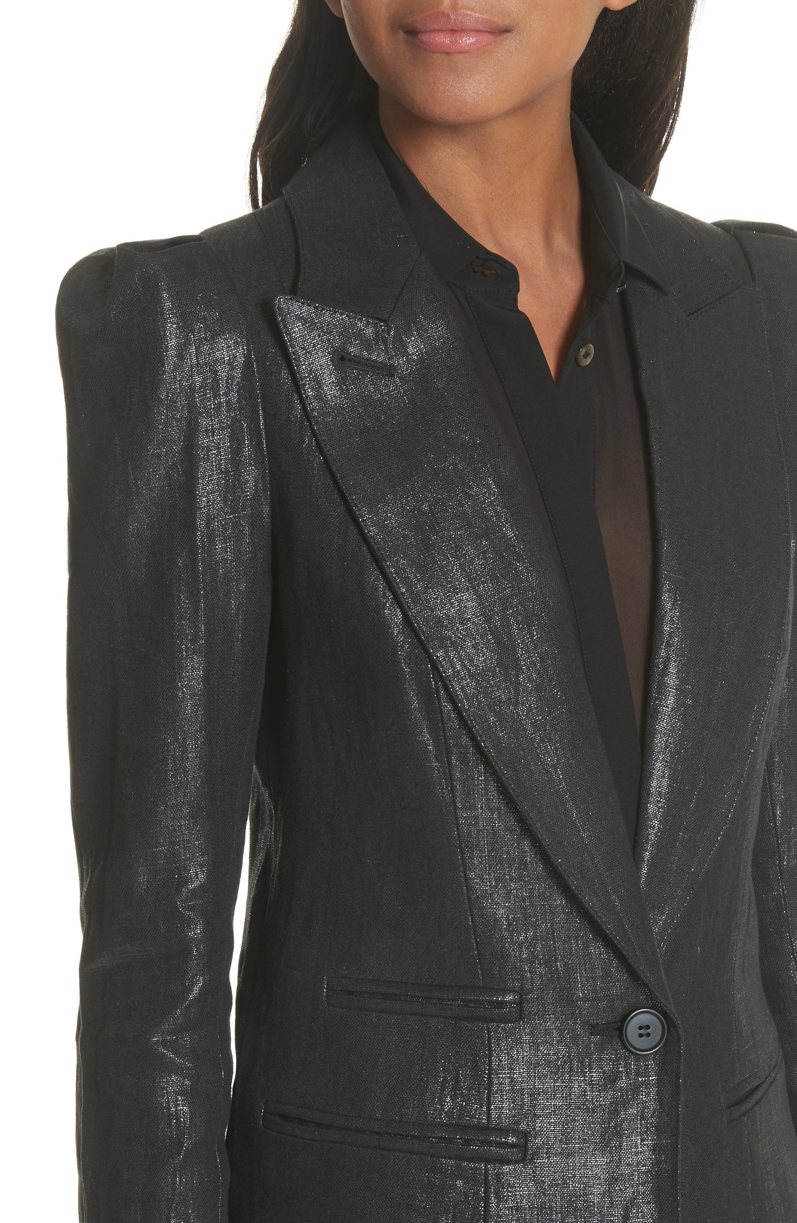 Metallic Linen Puff Sleeve Blazer,                             Alternate thumbnail 4, color,                             001