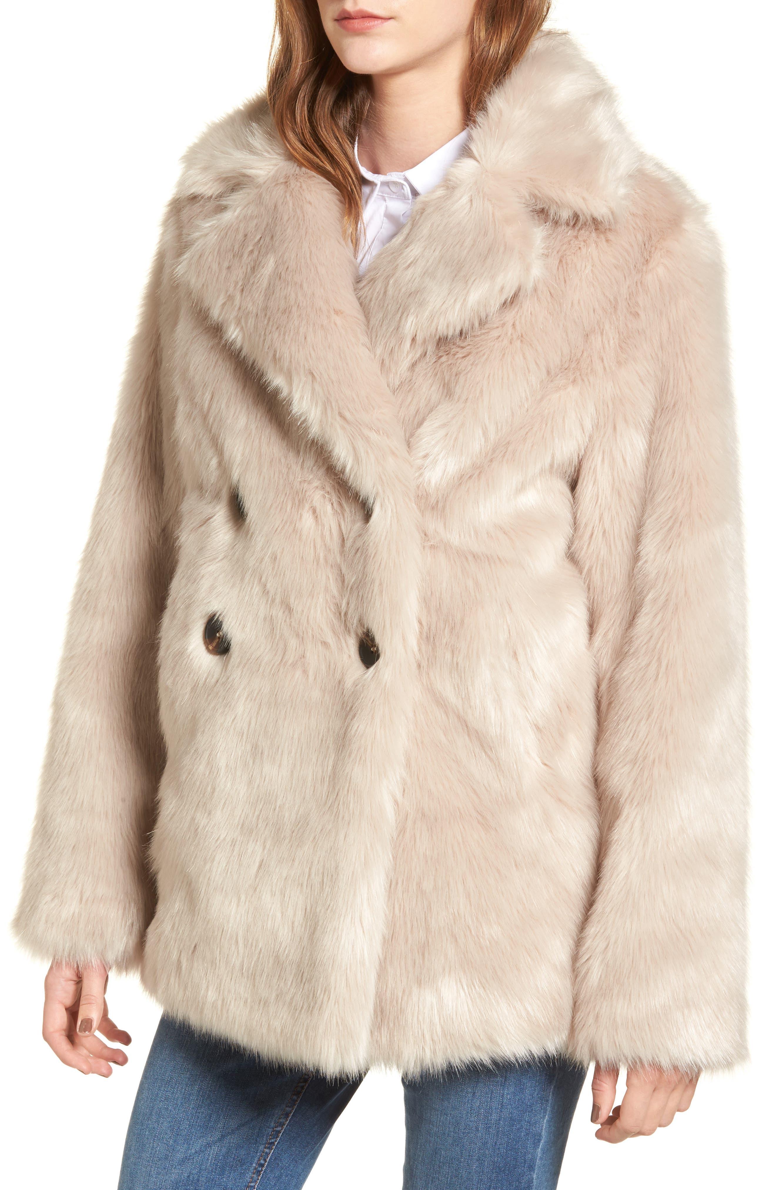 Faux Fur Coat,                             Alternate thumbnail 4, color,                             900