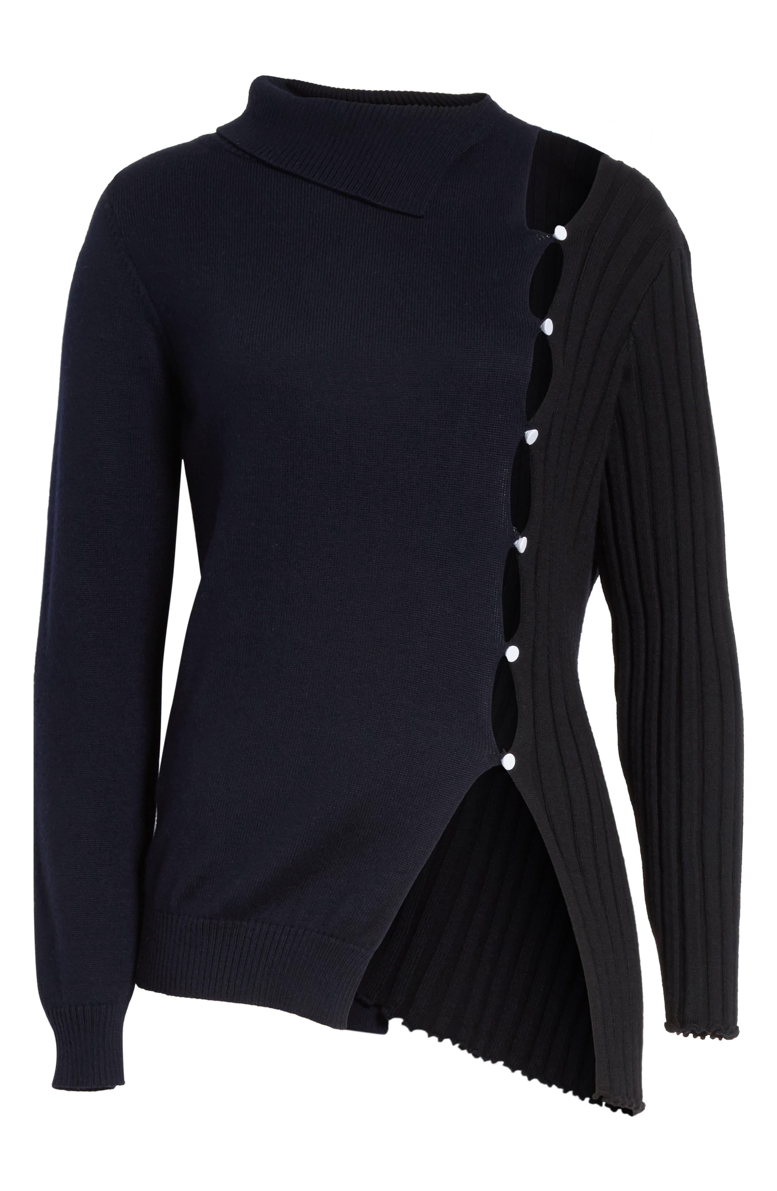 Asymmetrical Button Front Turtleneck Sweater,                             Alternate thumbnail 6, color,                             400