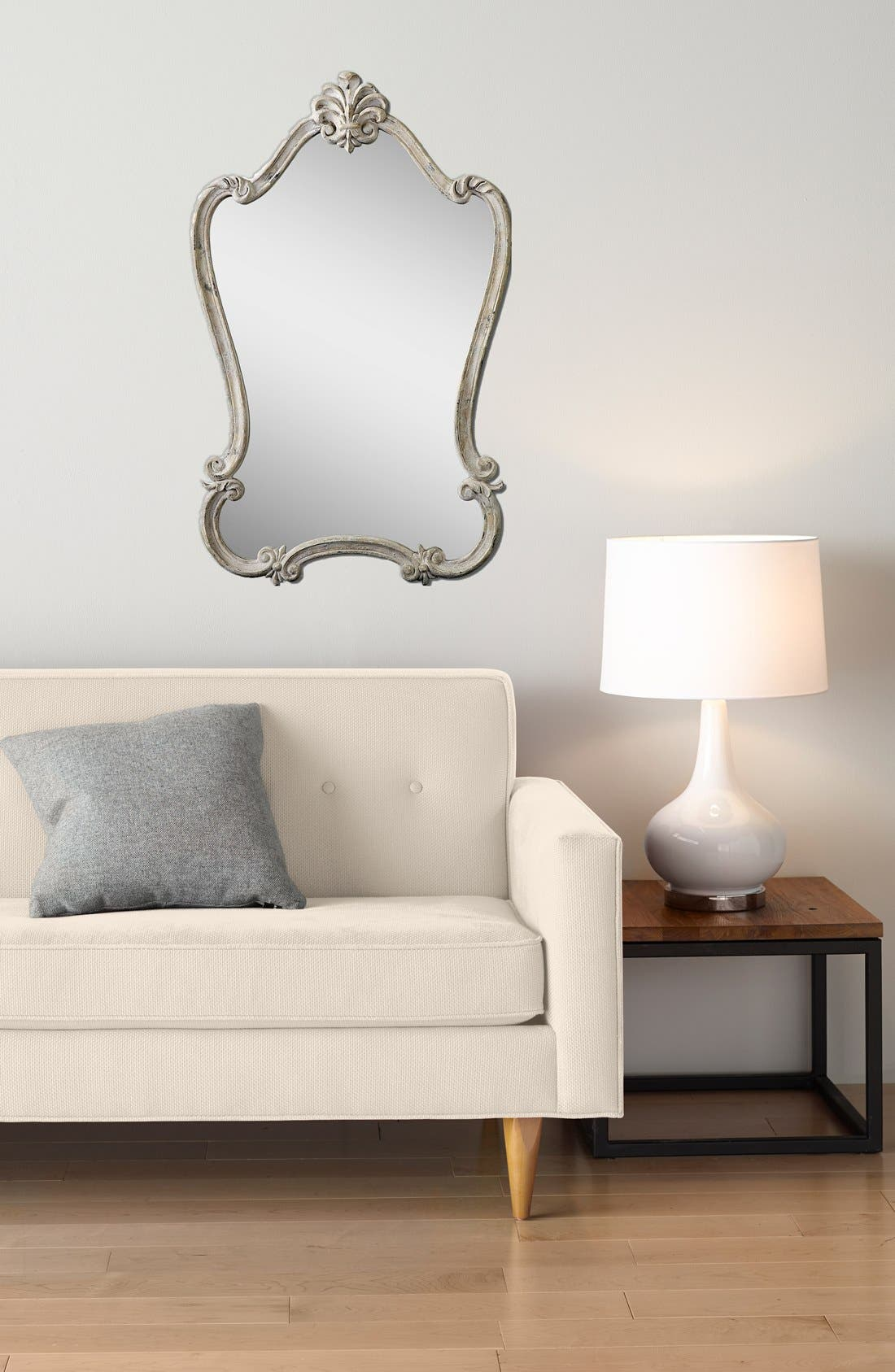 'Walton Hall' Antique White Vanity Mirror,                             Alternate thumbnail 2, color,                             100