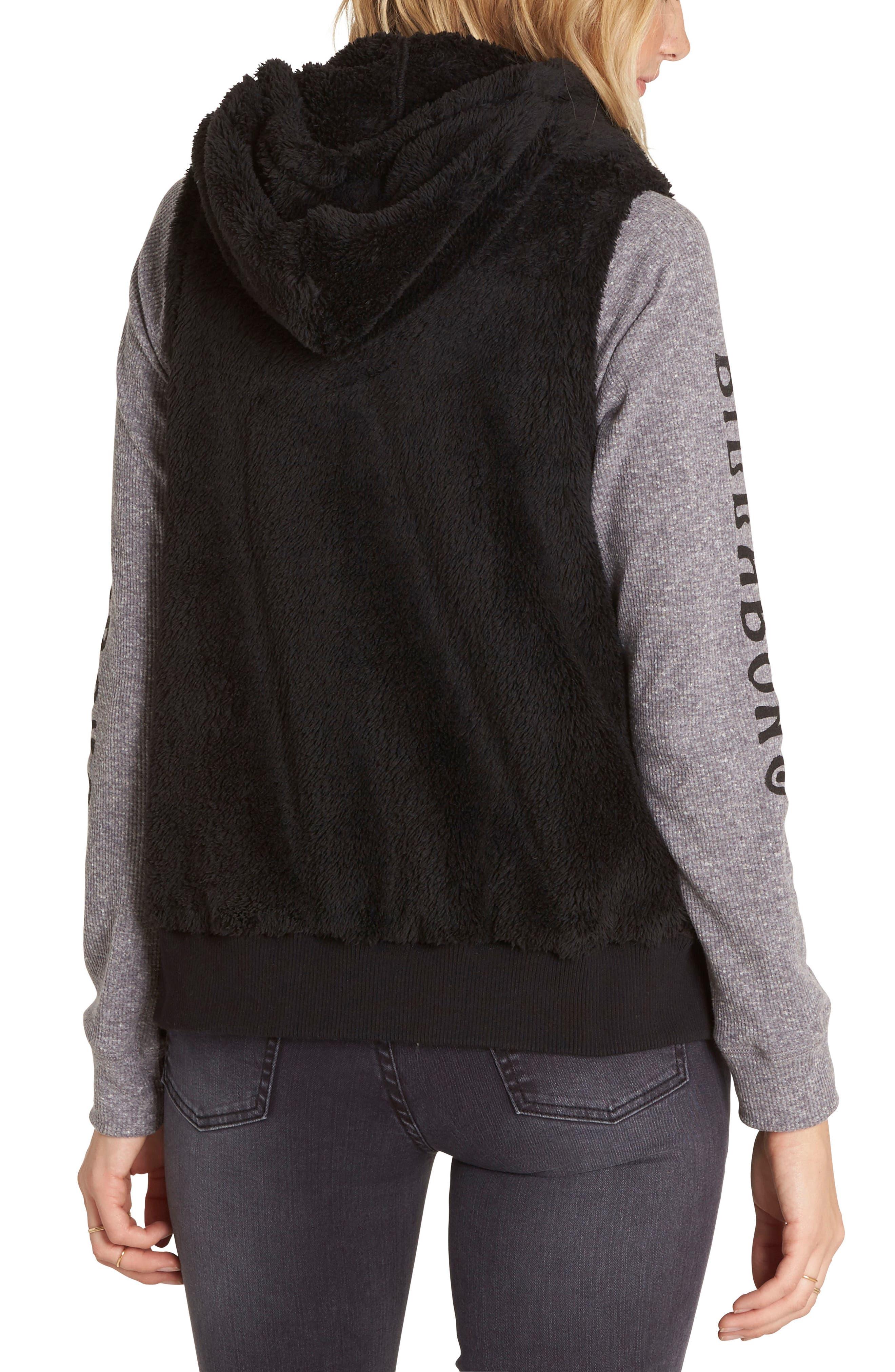 Side by Side Fleece Hooded Vest,                             Alternate thumbnail 2, color,                             015