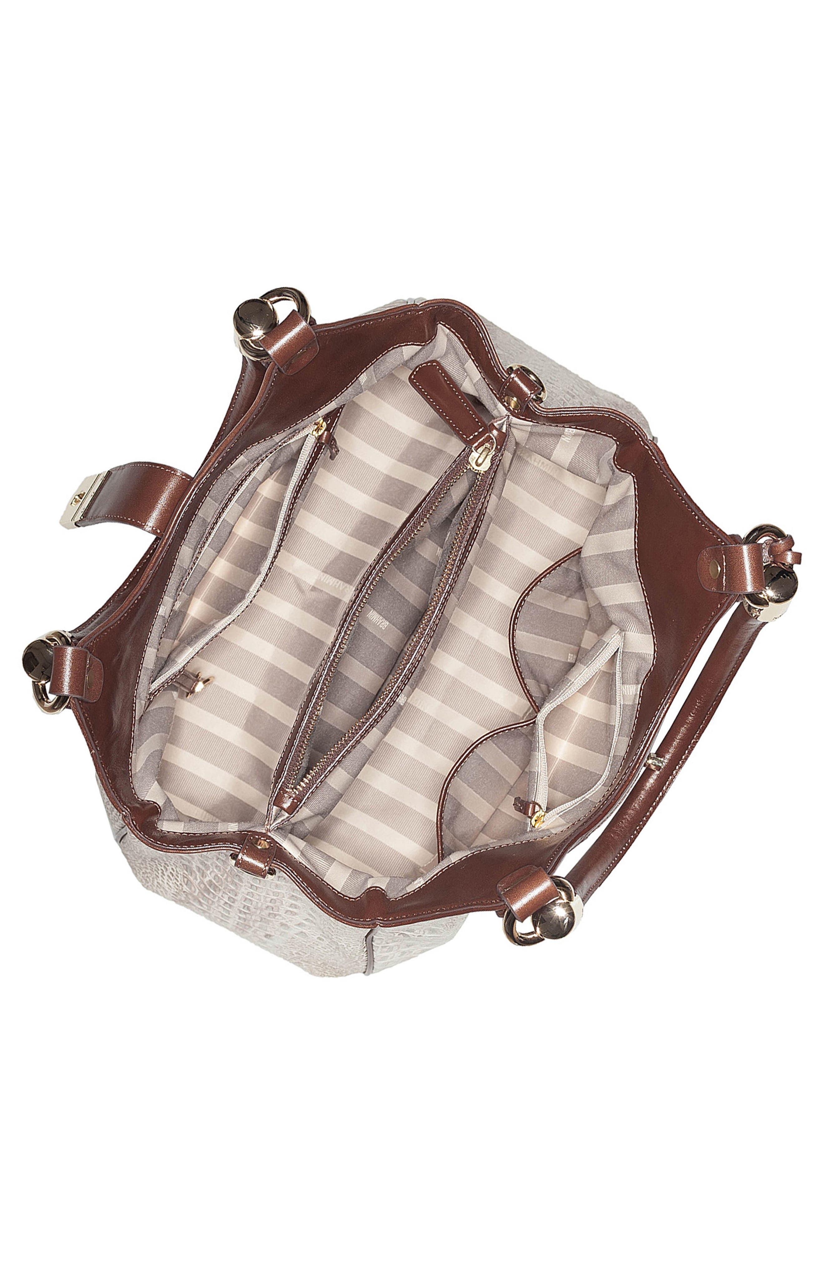 Elisa Croc Embossed Leather Shoulder Bag,                             Alternate thumbnail 3, color,                             BEIGE