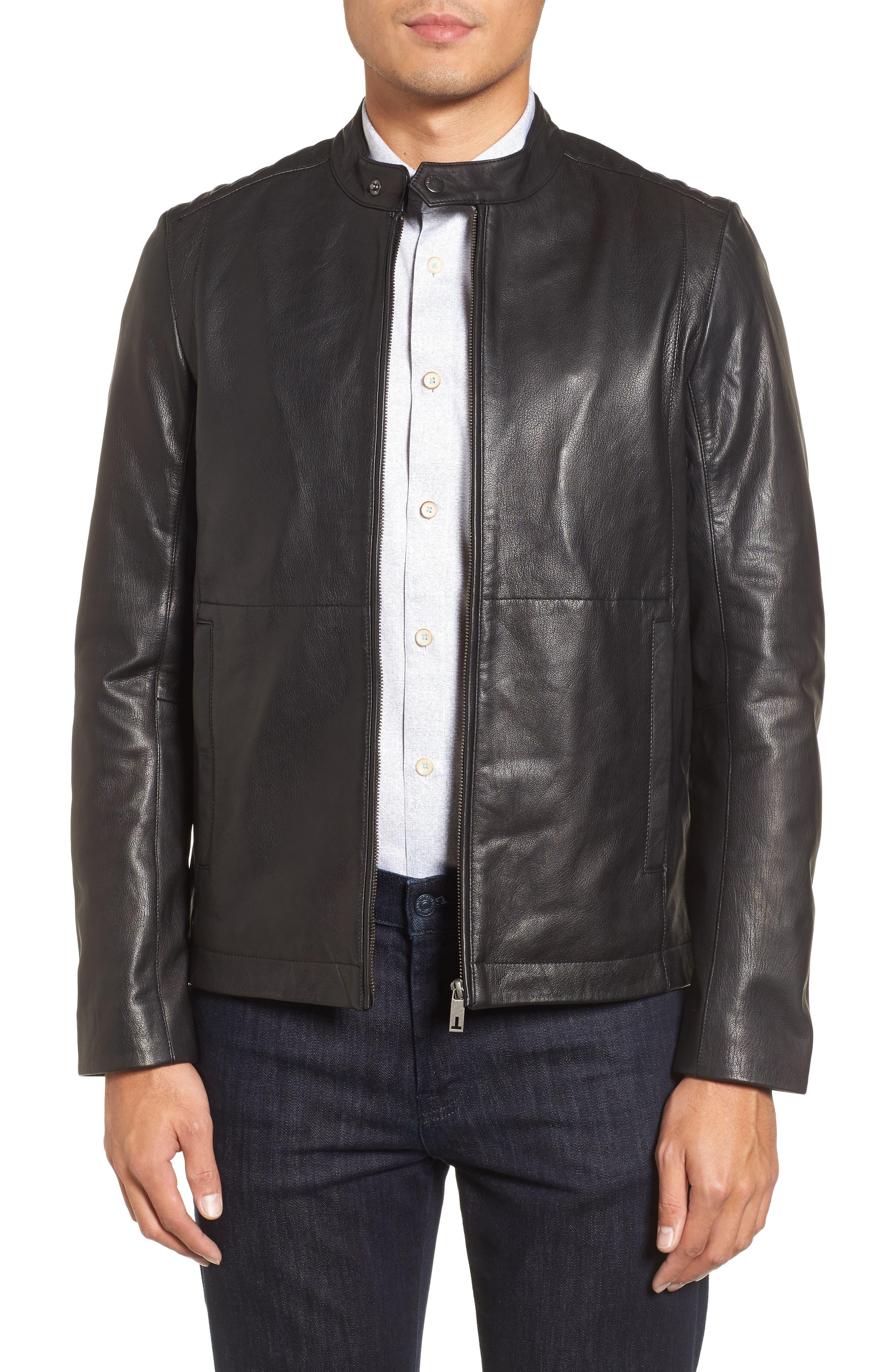 Mate Leather Biker Jacket,                         Main,                         color, 001
