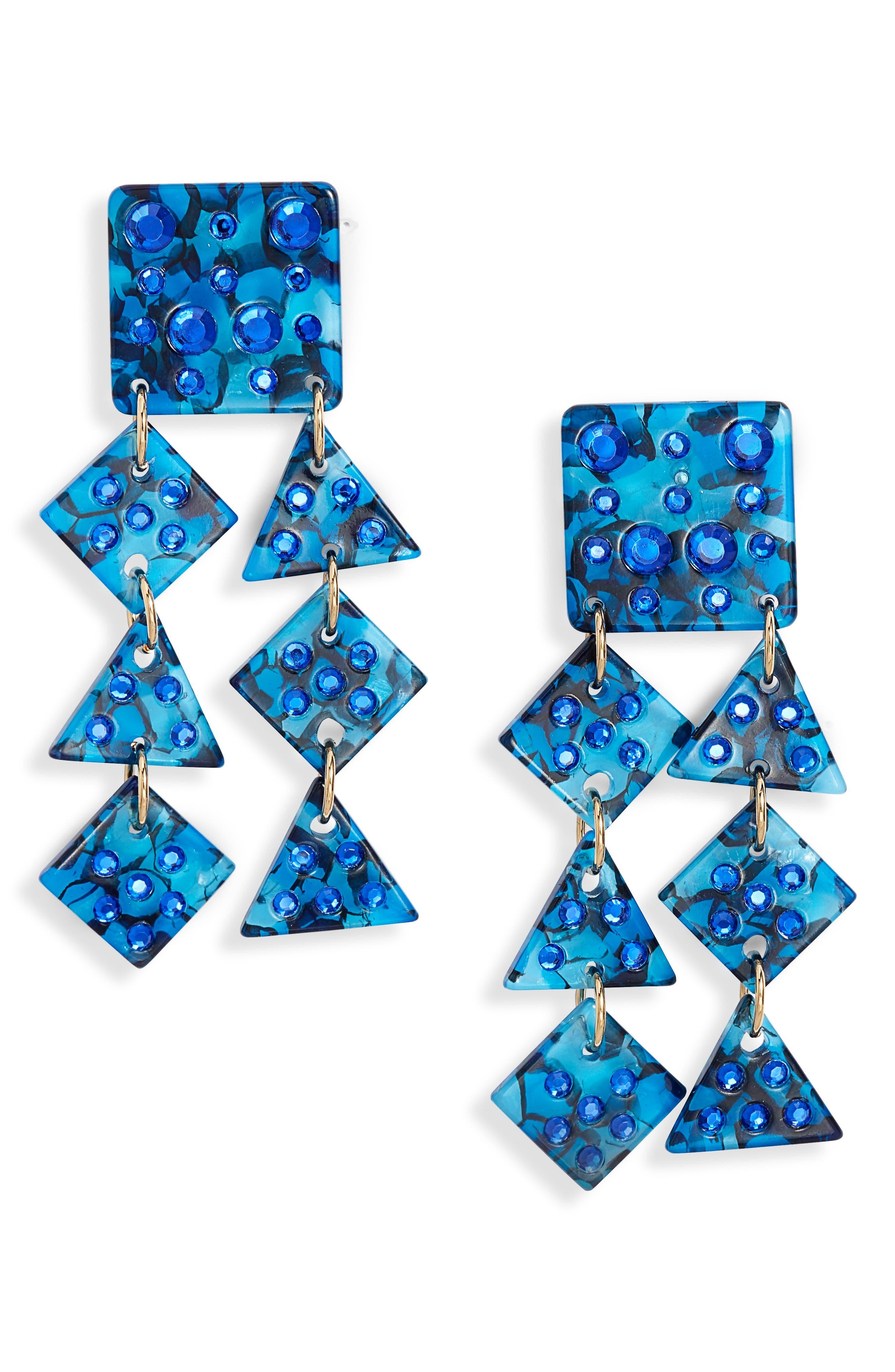 Spotlight Chandelier Earrings, Main, color, SAPPHIRE
