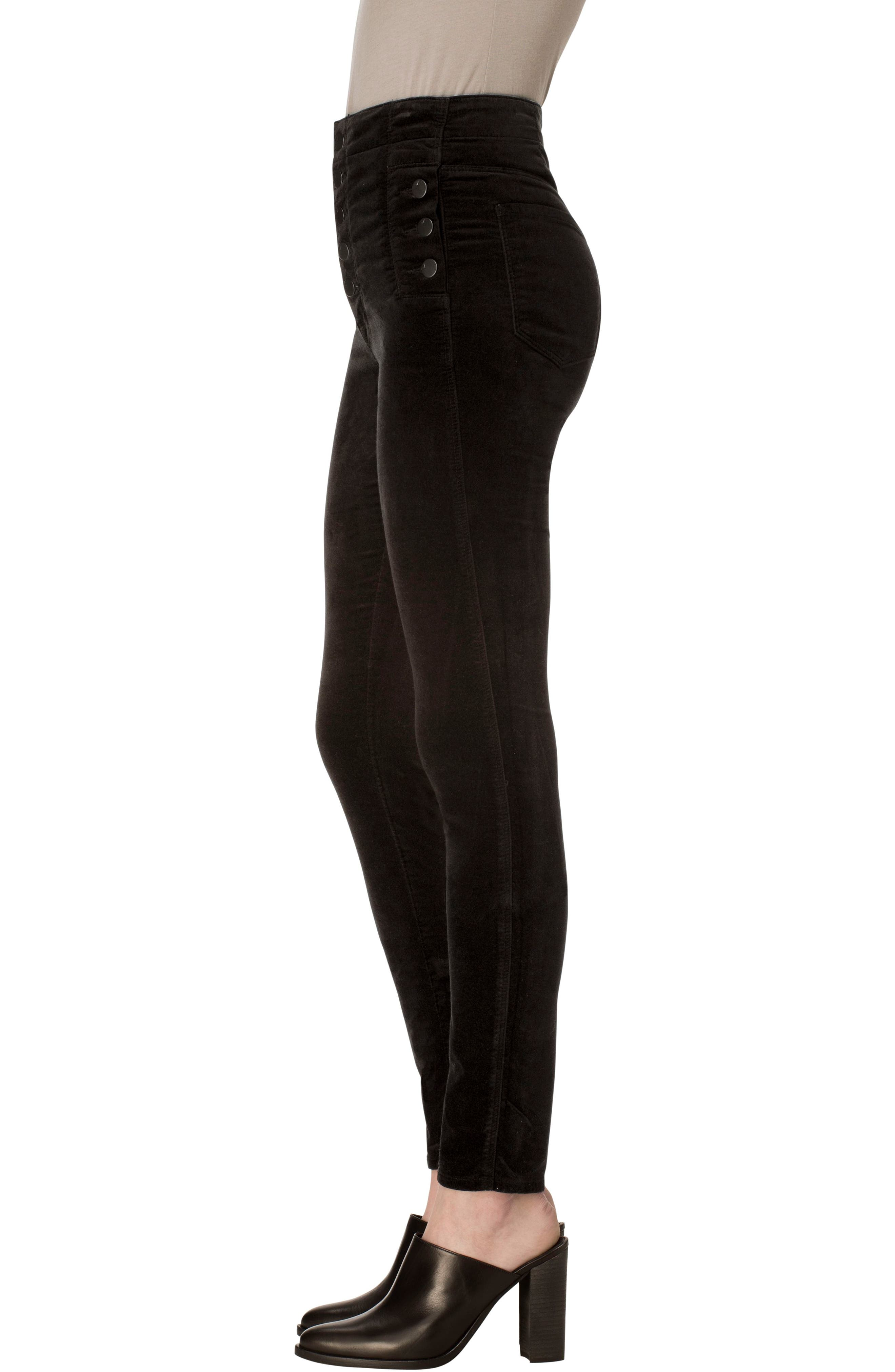 Natasha Sky High Velvet Skinny Pants,                             Alternate thumbnail 3, color,                             BLACK