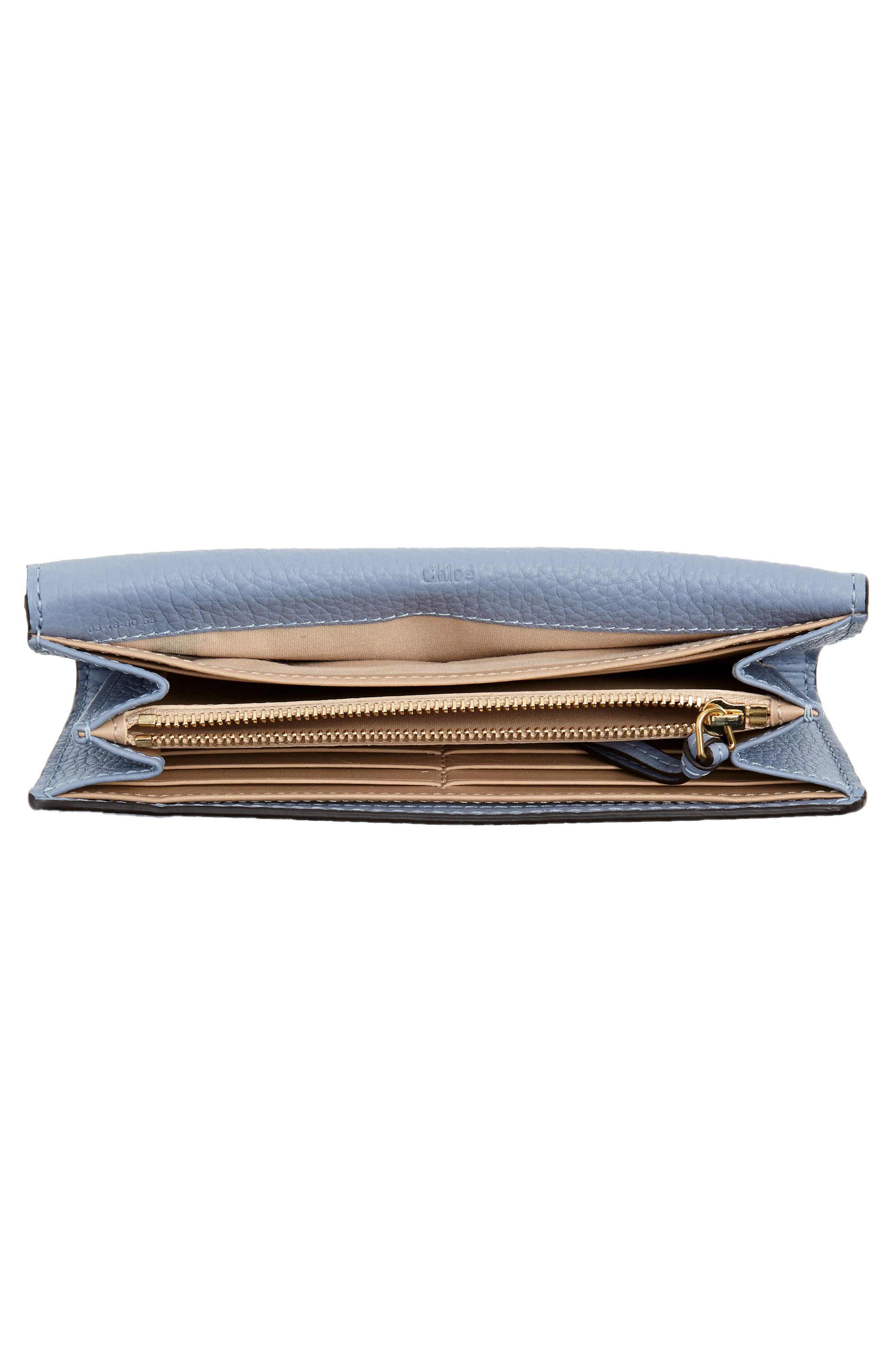 Marcie - Long Leather Flap Wallet,                             Alternate thumbnail 4, color,                             WASHED BLUE