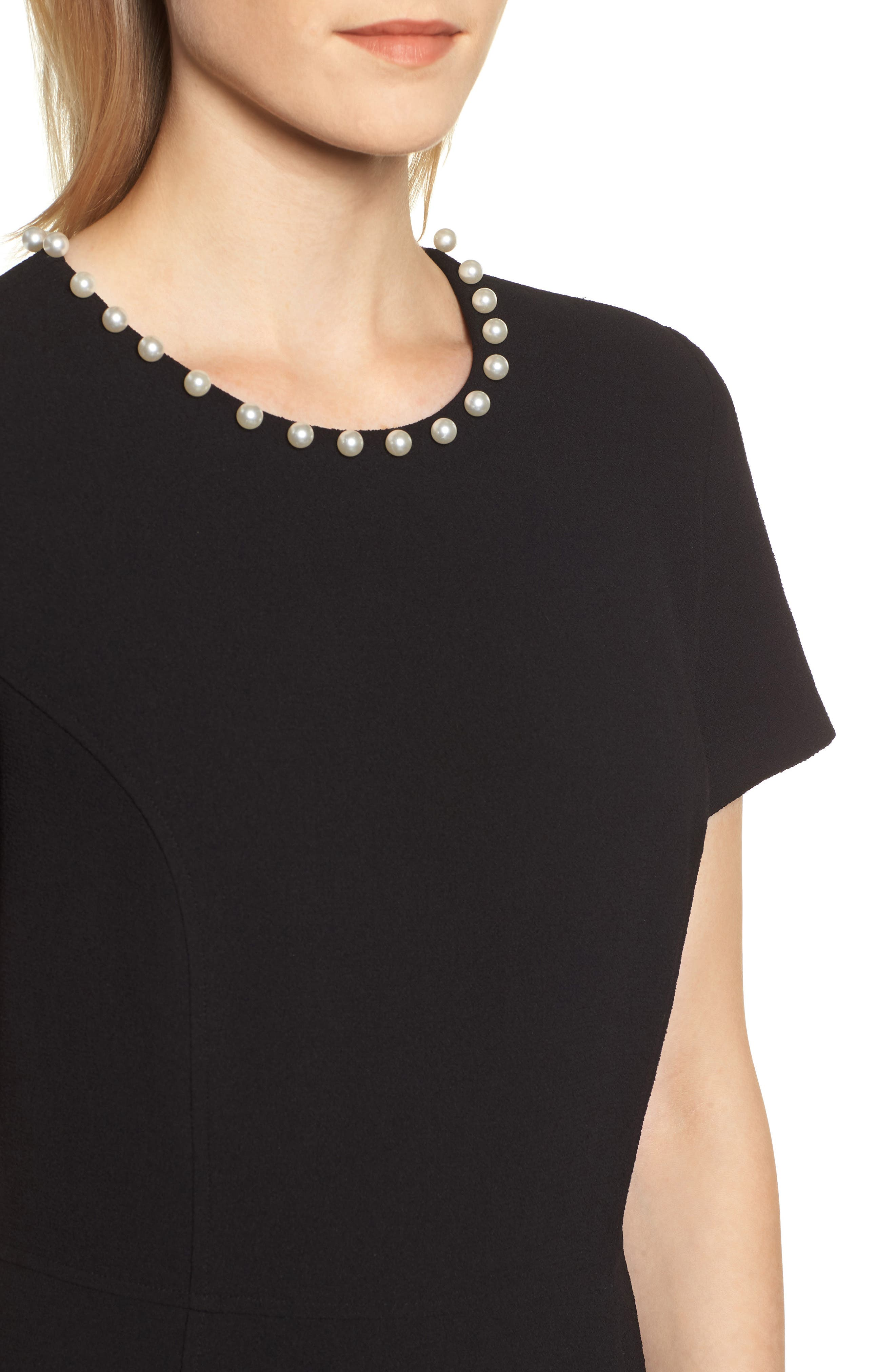 KARL LAGERFELD PARIS,                             Pearly Necklace Fit & Flare Dress,                             Alternate thumbnail 4, color,                             001
