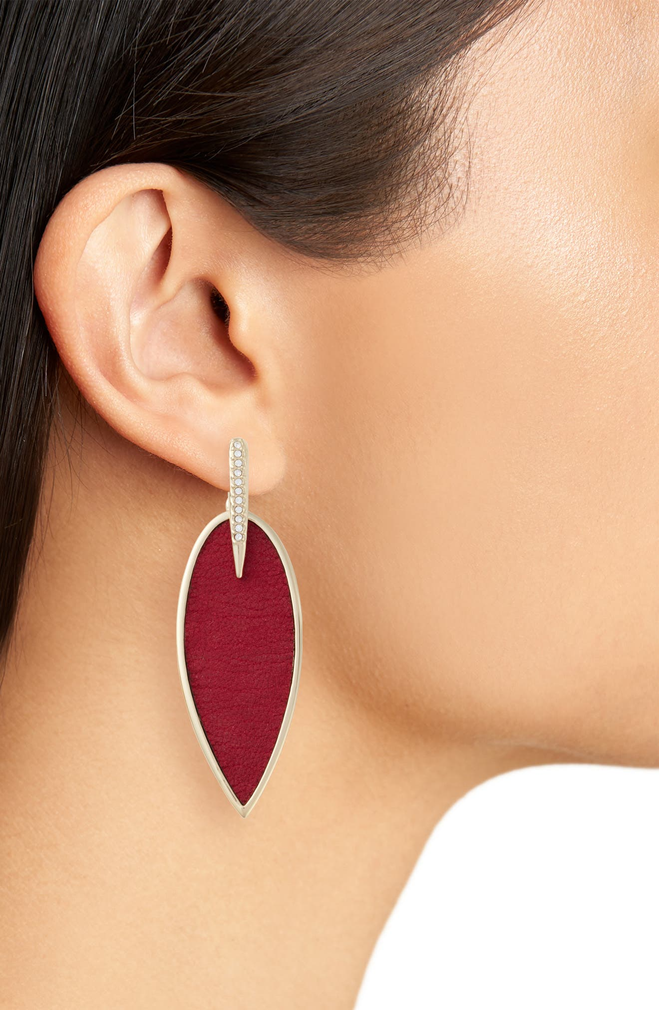 Inlaid Leather Statement Earrings,                             Alternate thumbnail 6, color,