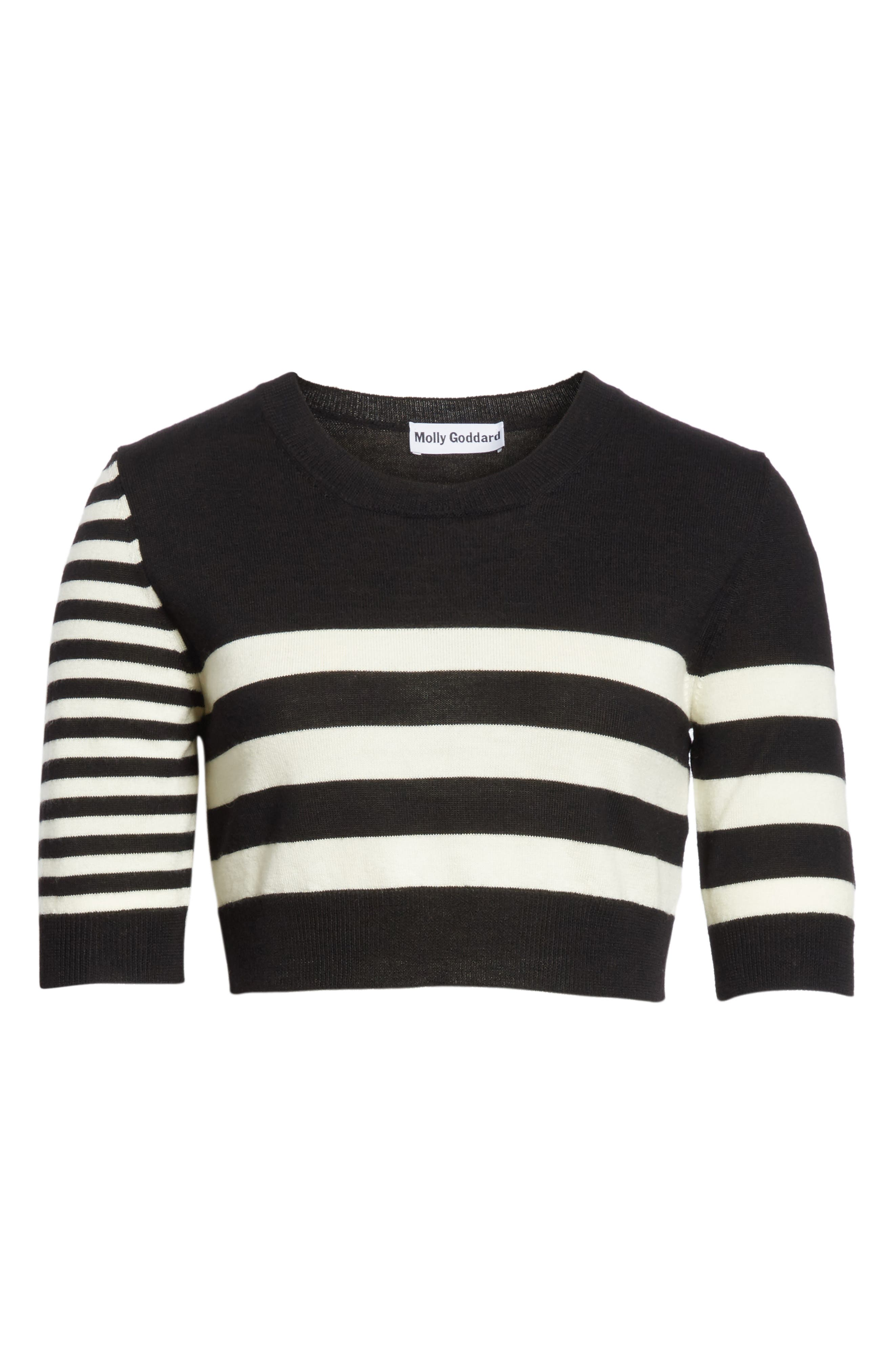 Love Stripe Crop Wool Sweater,                             Alternate thumbnail 6, color,                             001