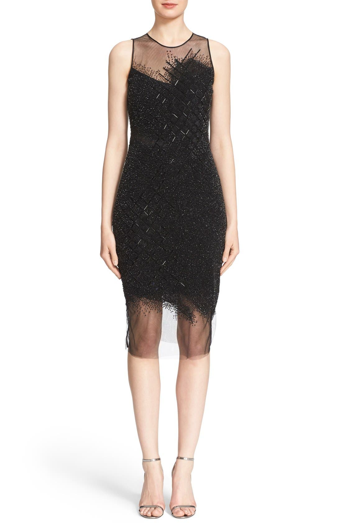 PAMELLA ROLAND Sequin Grid Cocktail Dress in Black