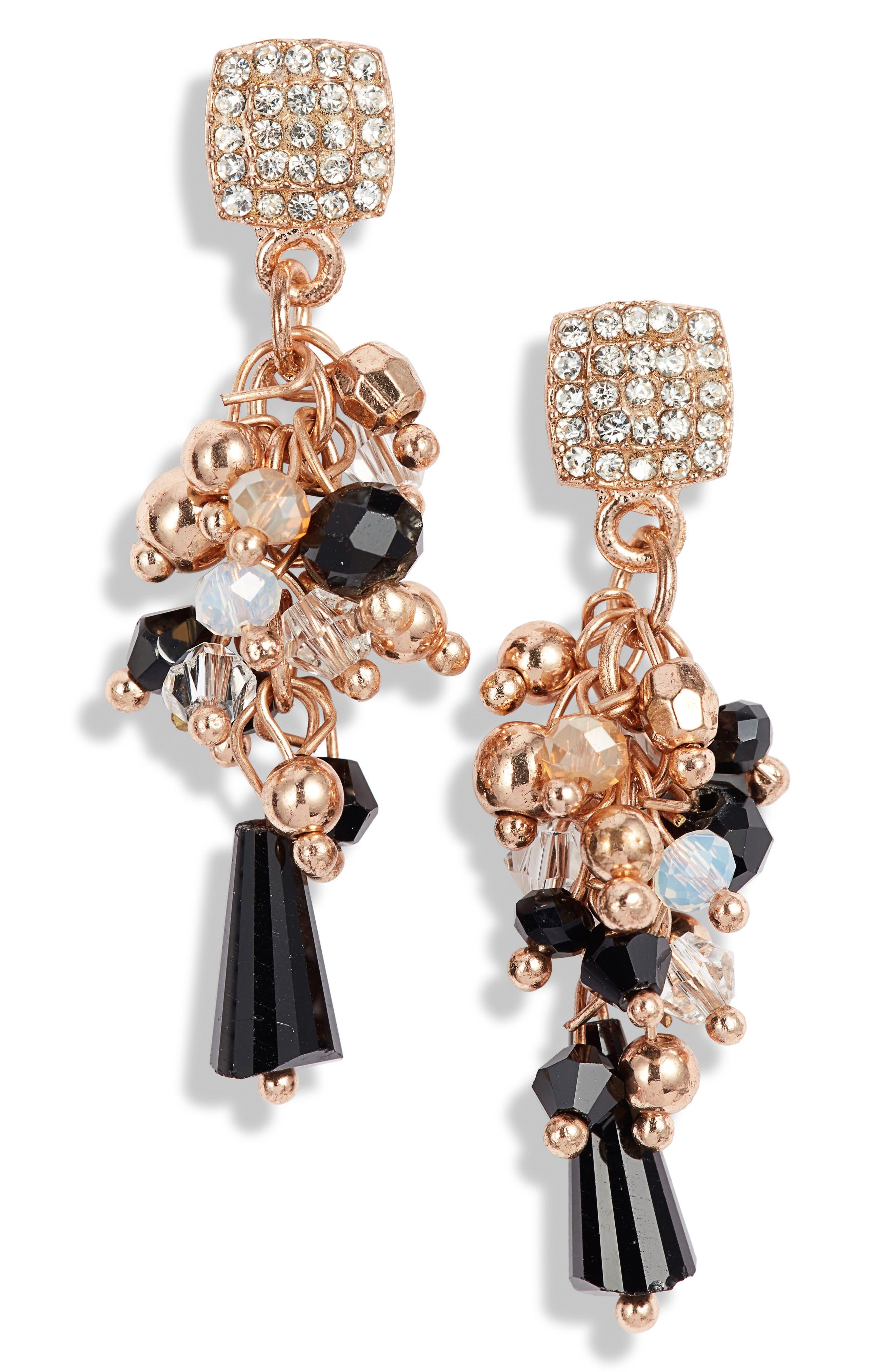 AREA STARS Bennett Drop Earrings in Black