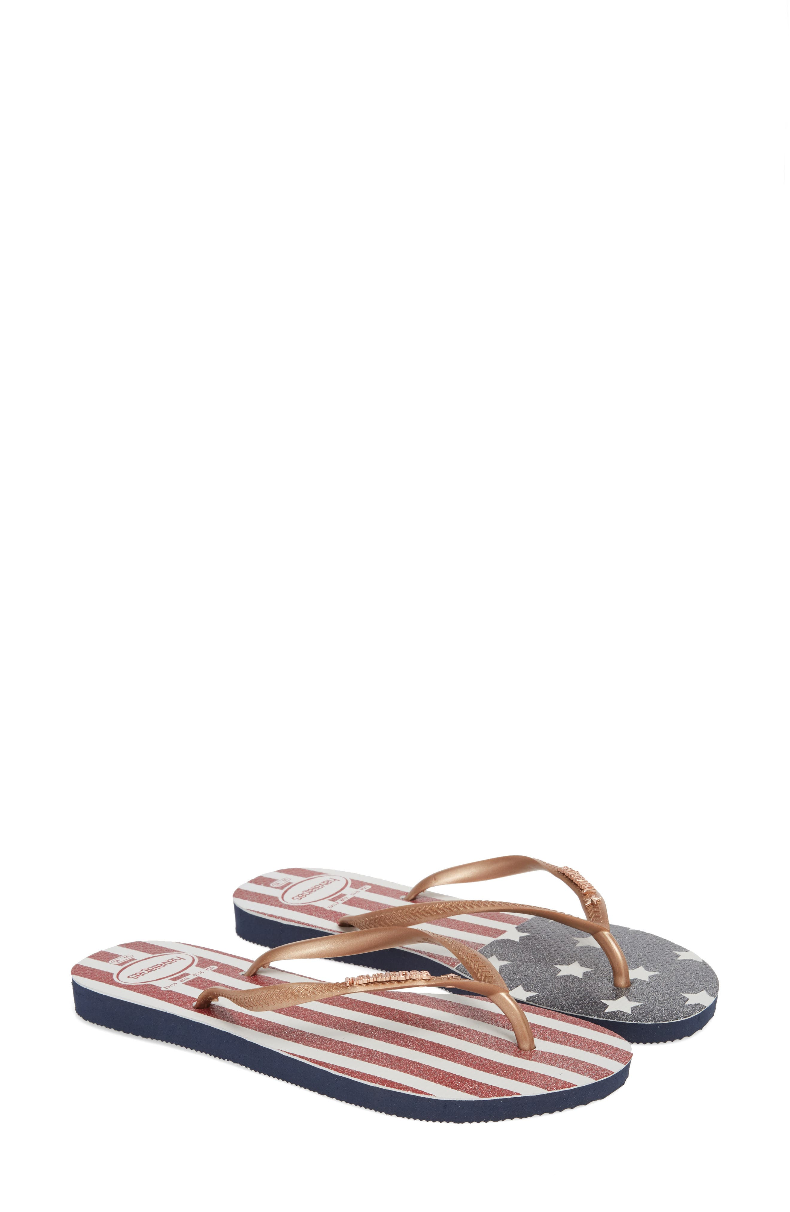 HAVAIANAS USA Slim Flip Flop, Main, color, 403