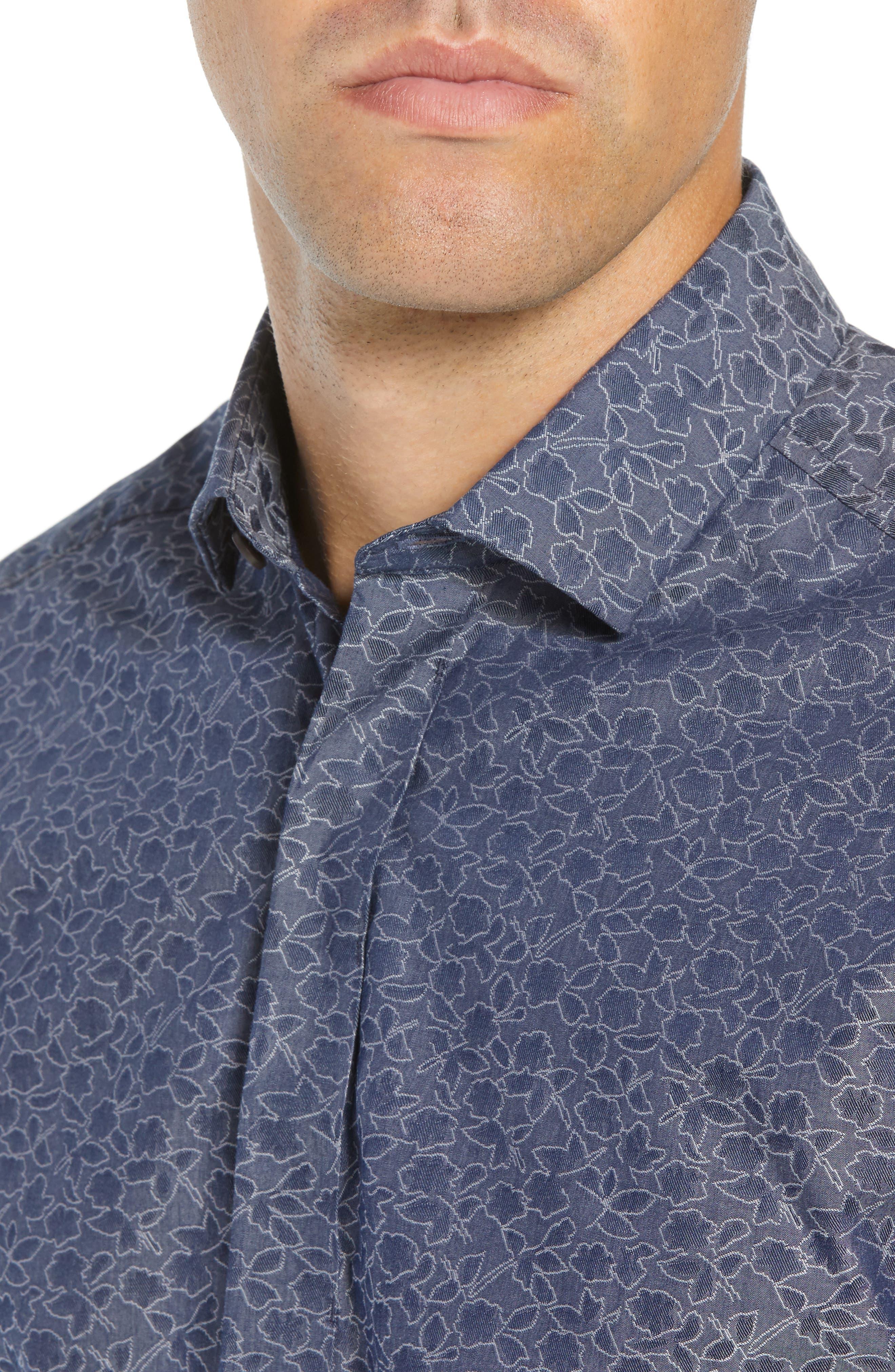 Slim Fit Print Sport Shirt,                             Alternate thumbnail 2, color,                             NAVY DOBBY