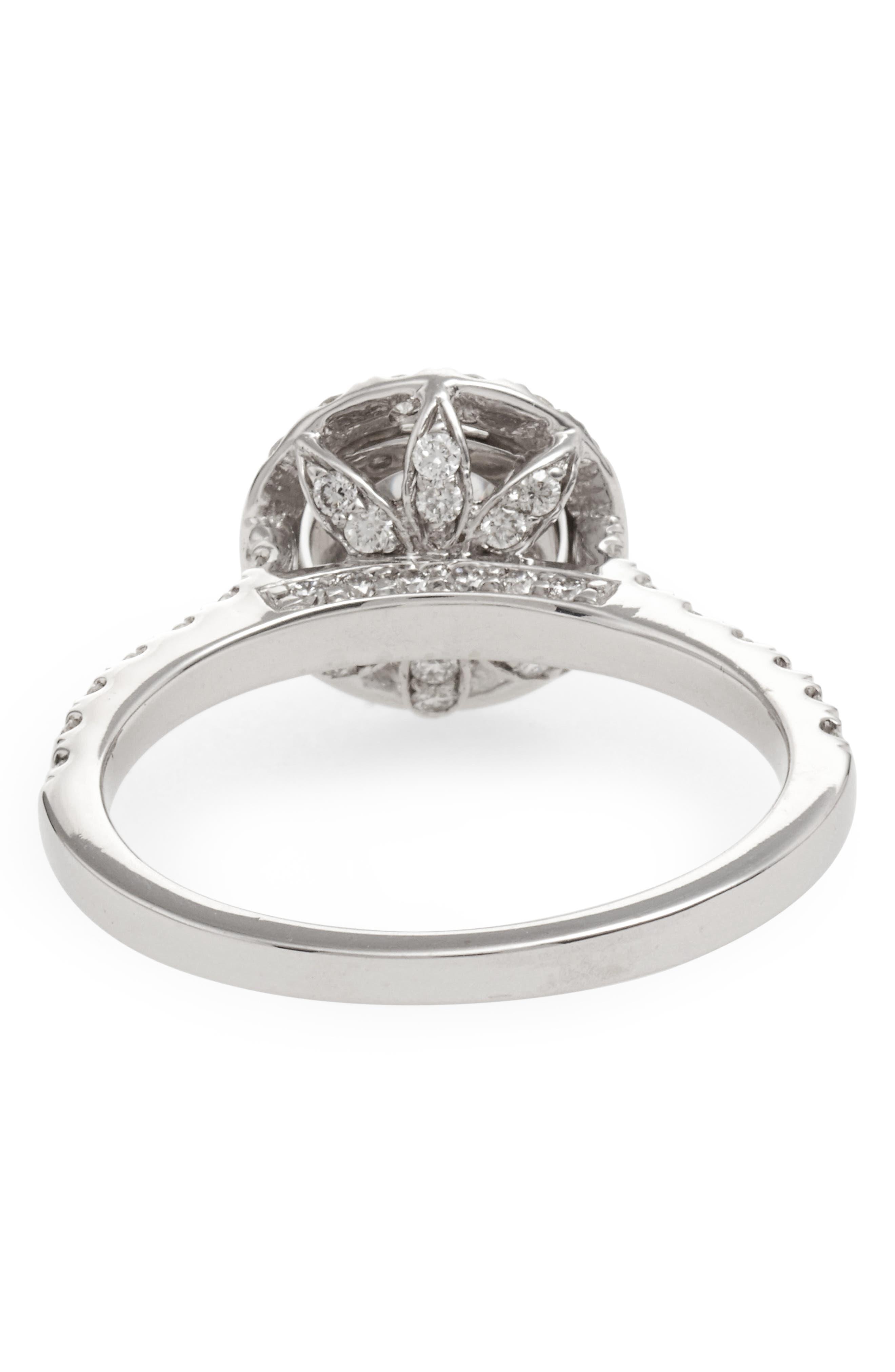 Pavé Diamond Leaf Engagement Ring Setting,                             Alternate thumbnail 3, color,                             WHITE GOLD