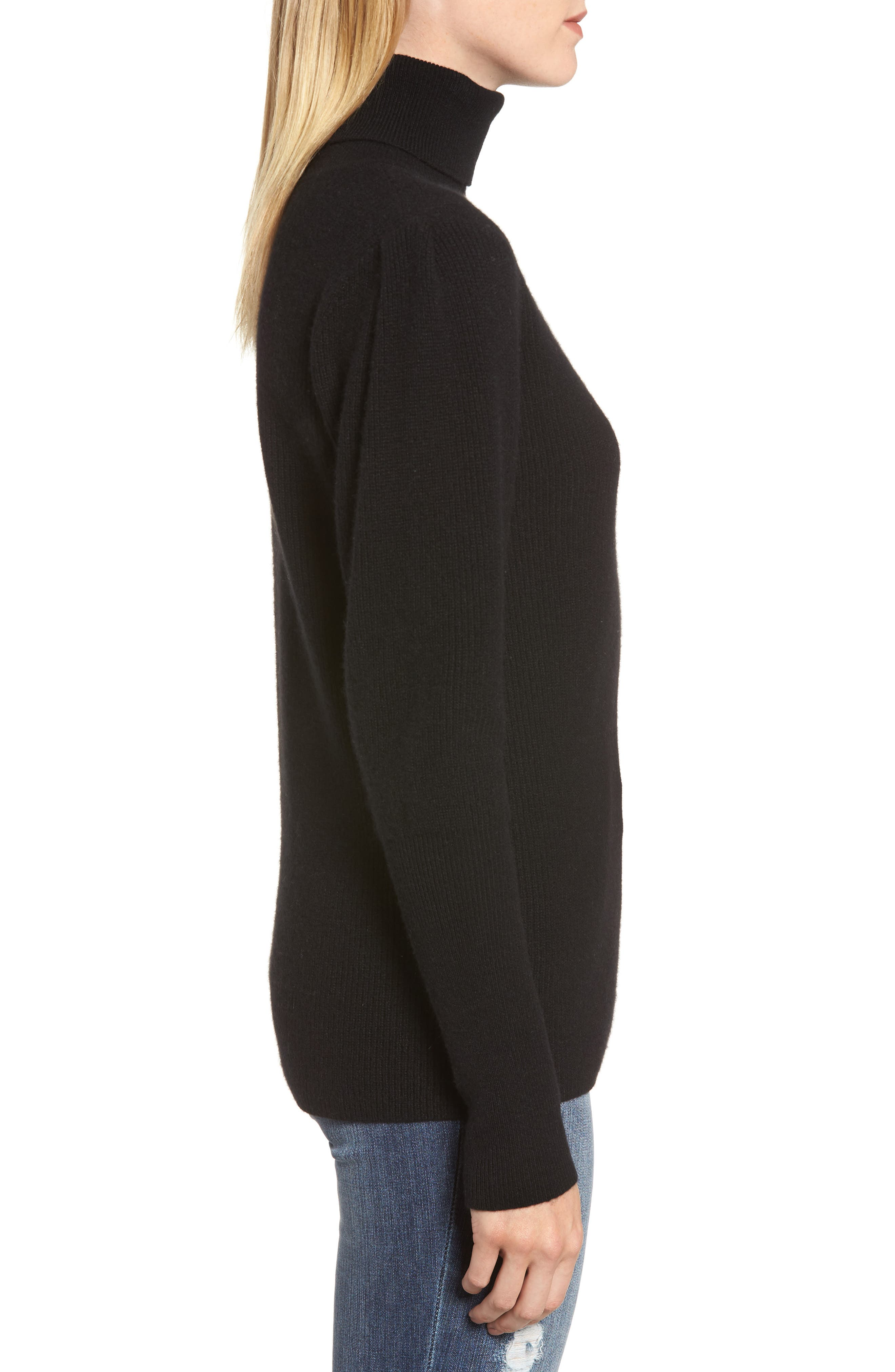 Cashmere Puff Sleeve Turtleneck,                             Alternate thumbnail 3, color,                             BLACK