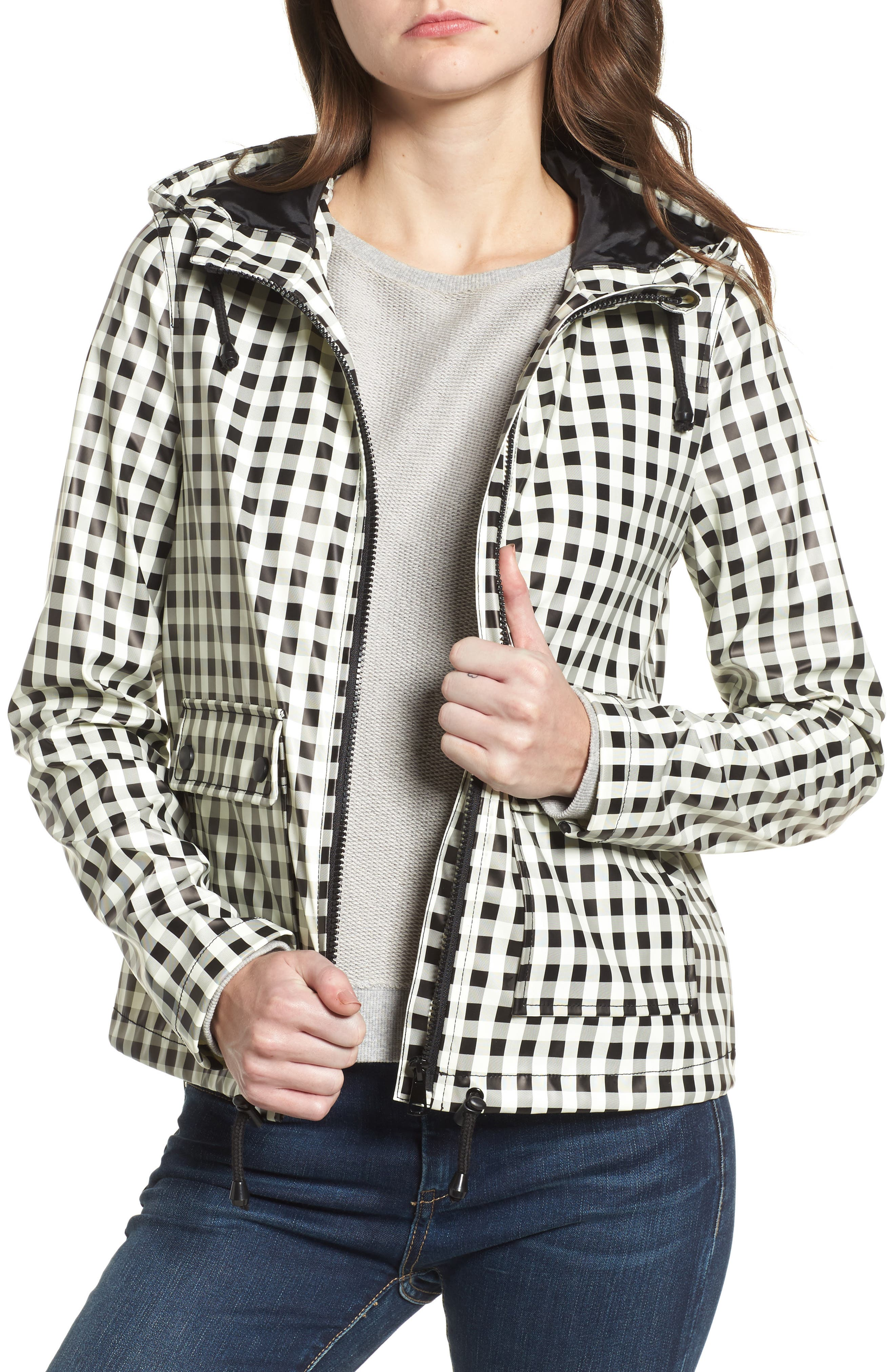 Gingham Hooded Rain Jacket,                         Main,                         color, 001