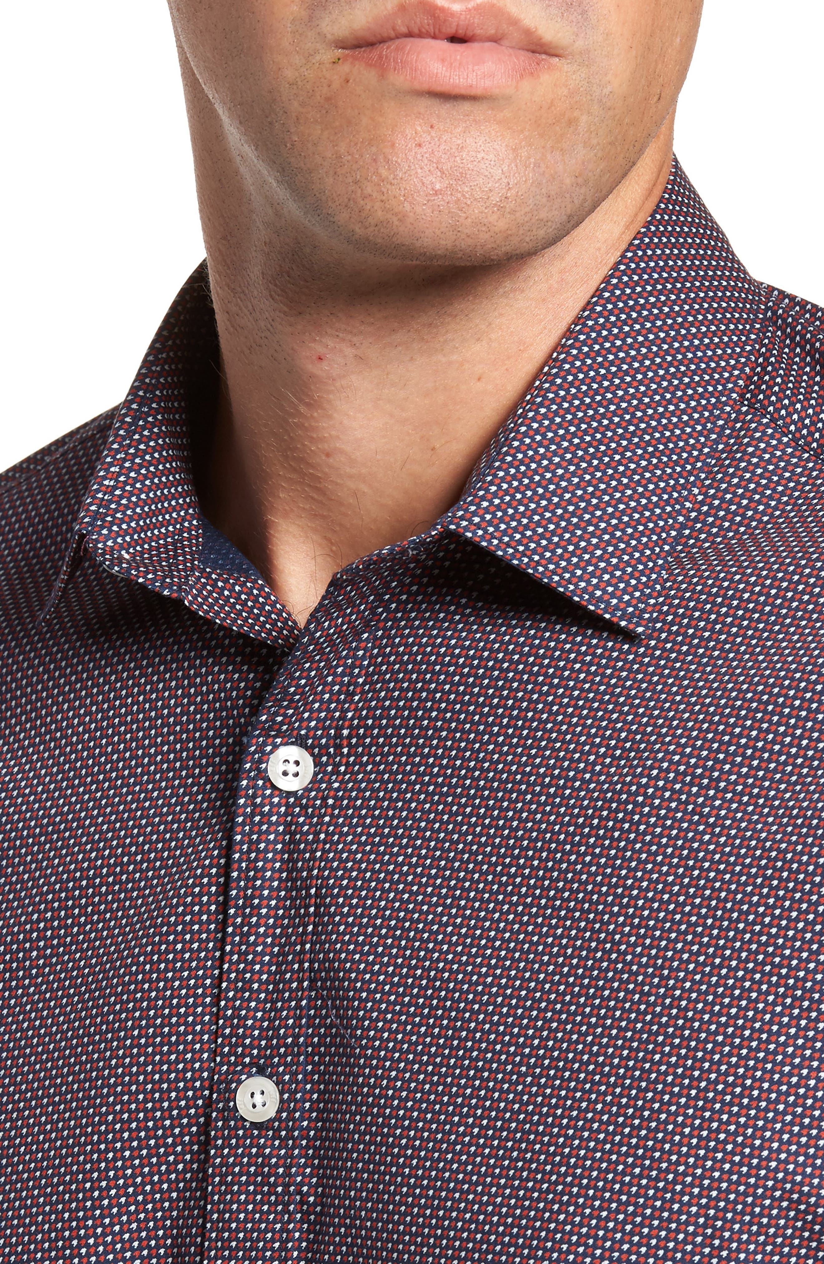 Slim Fit Houndstooth Sport Shirt,                             Alternate thumbnail 4, color,                             462