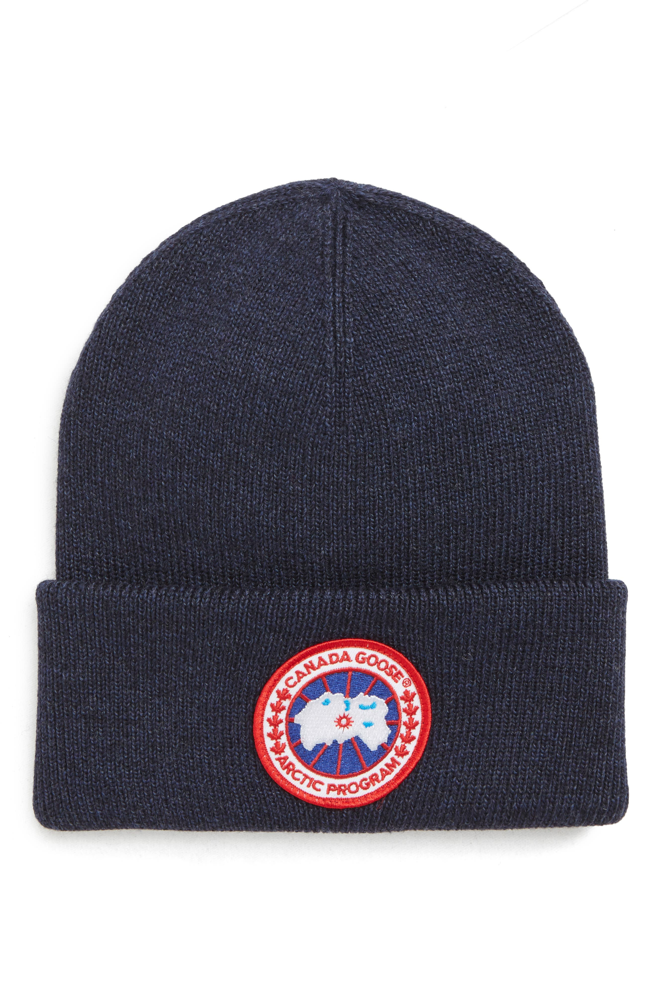 Arctic Disc Merino Wool Toque Beanie - Black in Navy Heather