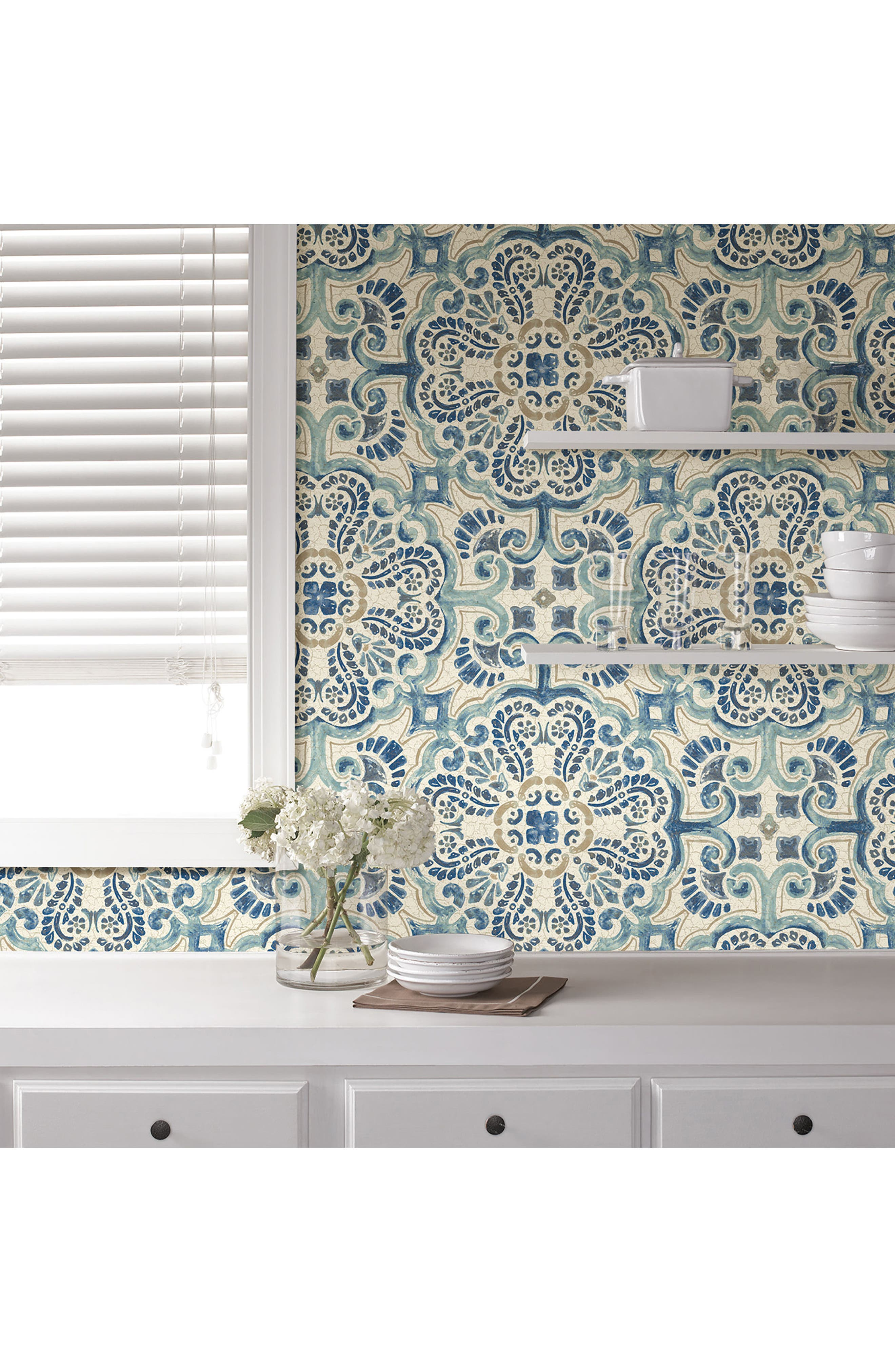 Blue Florentine Tile Peel & Stick Vinyl Wallpaper,                             Alternate thumbnail 3, color,                             400