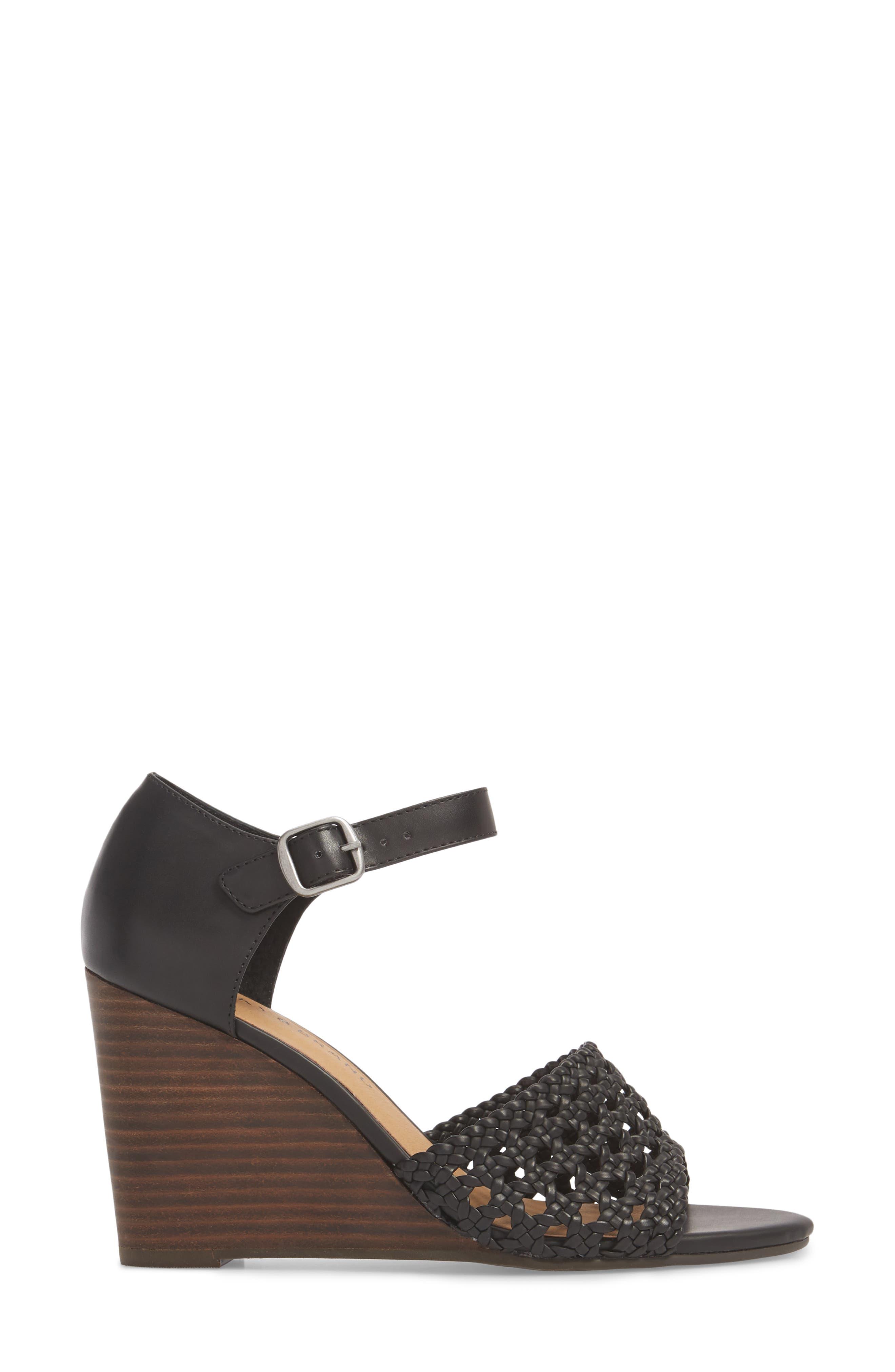 Rabekka Wedge Sandal,                             Alternate thumbnail 3, color,                             BLACK LEATHER