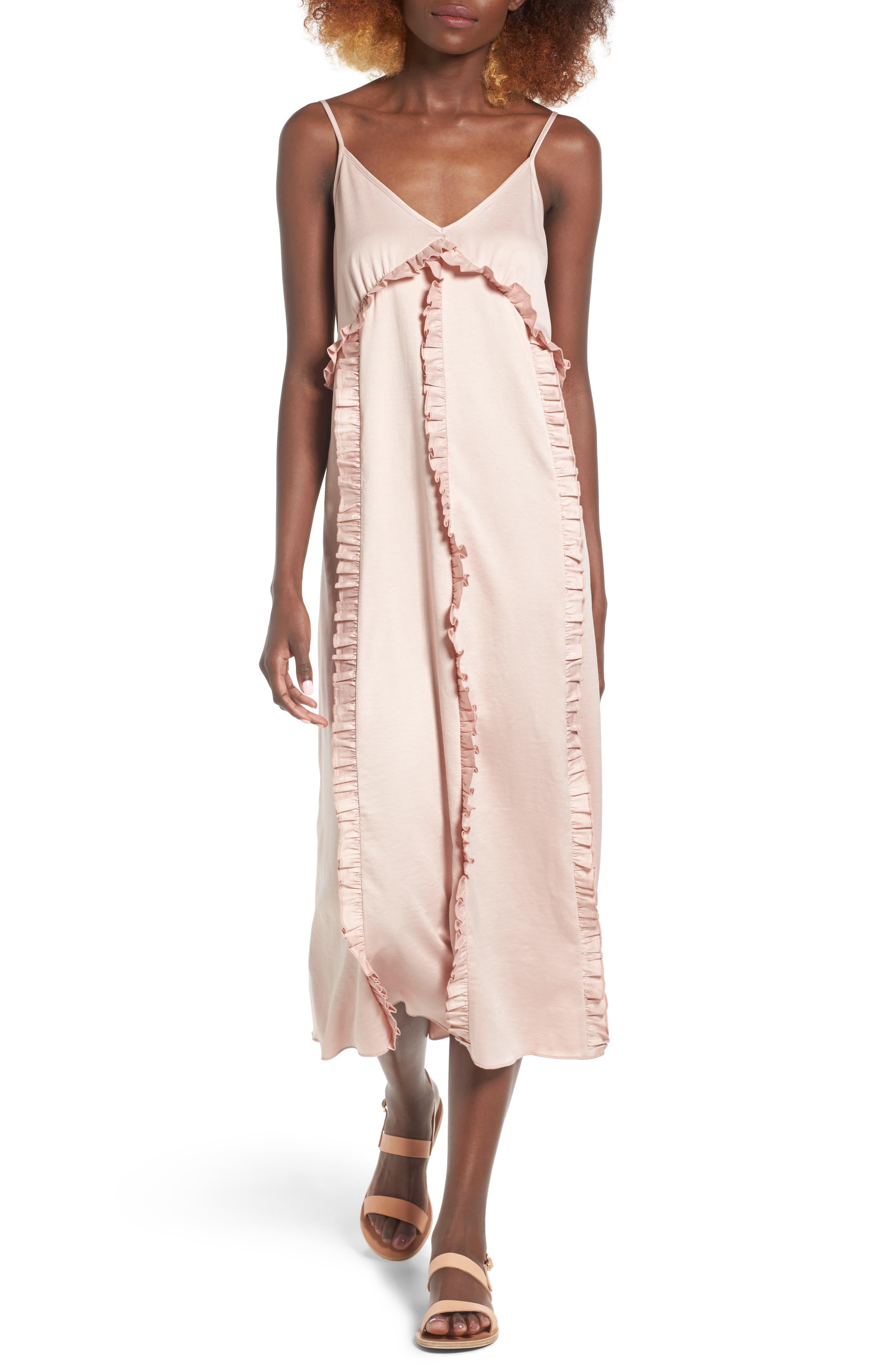 Ruffle Midi Dress,                         Main,                         color, 650