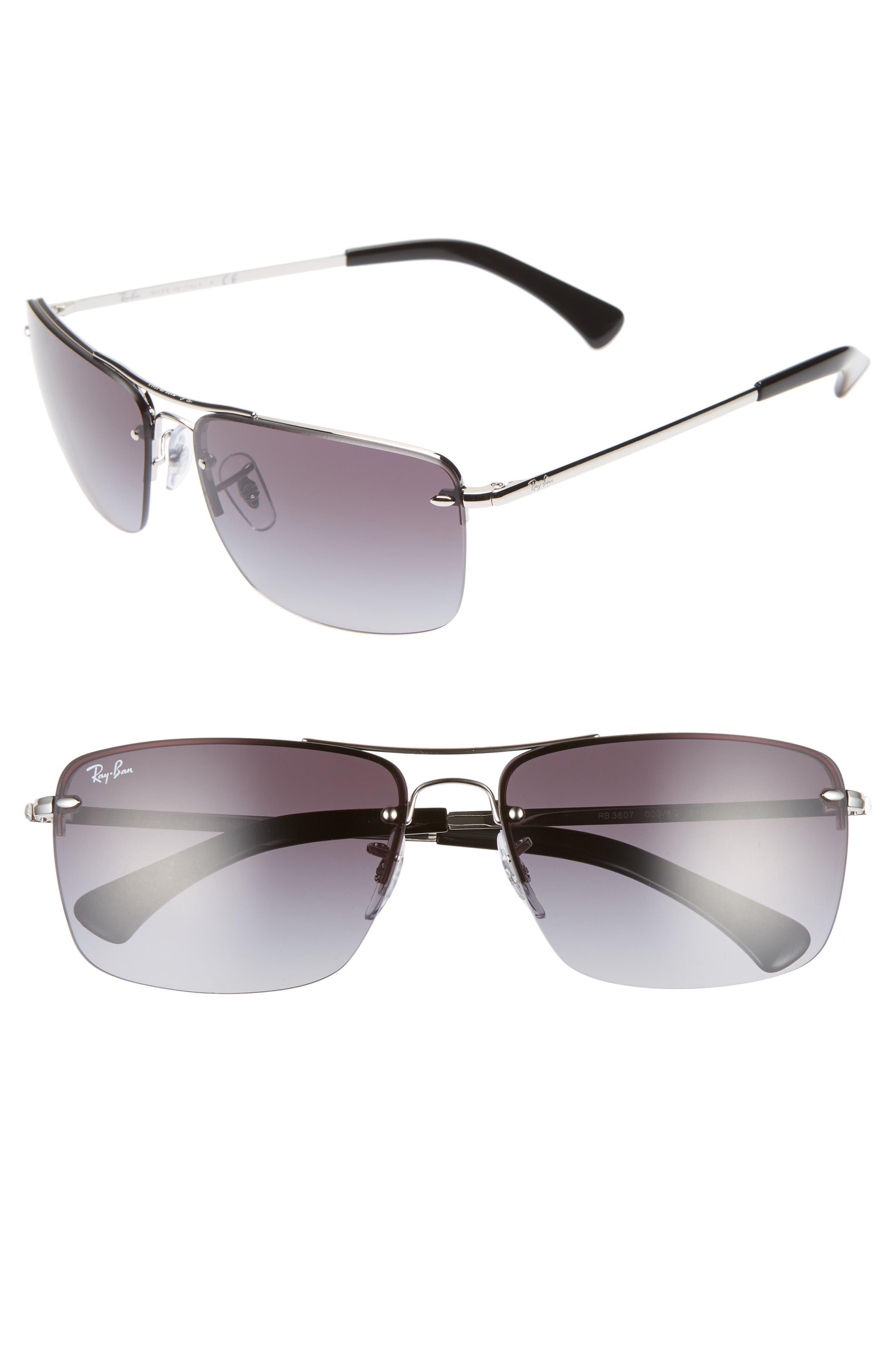 61mm Gradient Semi Rimless Navigator Sunglasses by Ray Ban