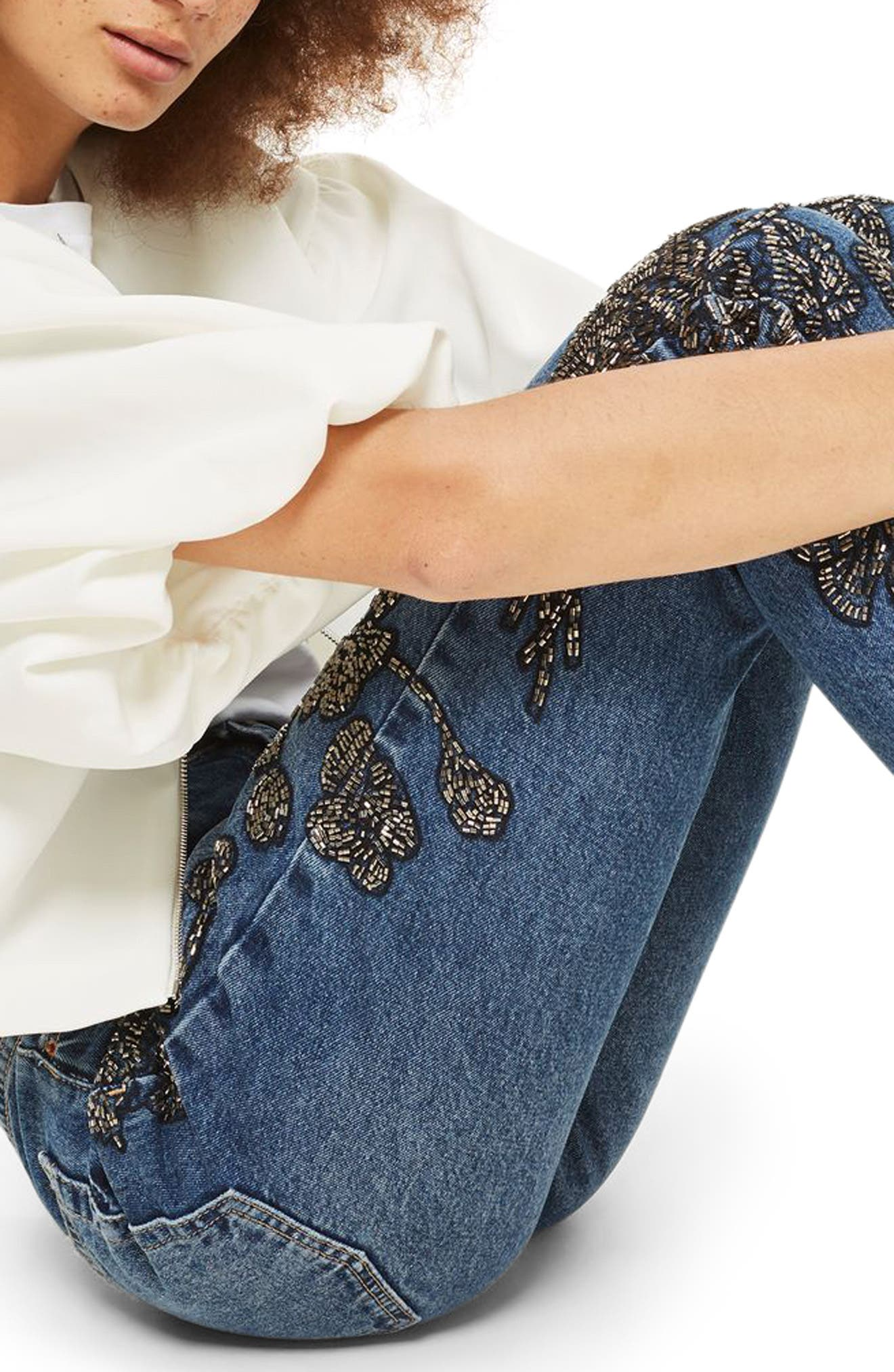 English Flower Embellished Mom Jeans,                             Alternate thumbnail 3, color,                             401
