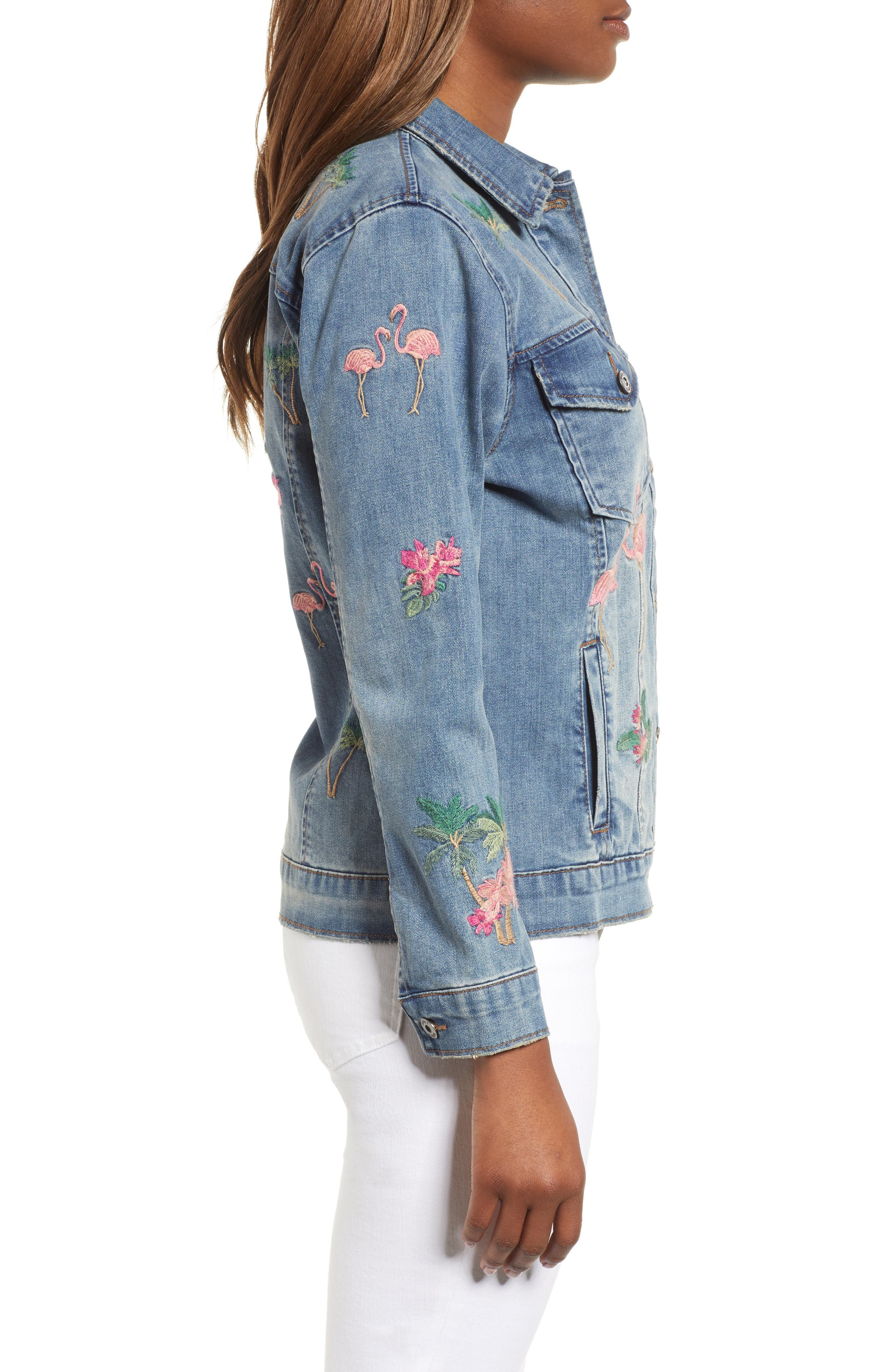 Flamingo Embroidered Denim Jacket,                             Alternate thumbnail 3, color,                             421