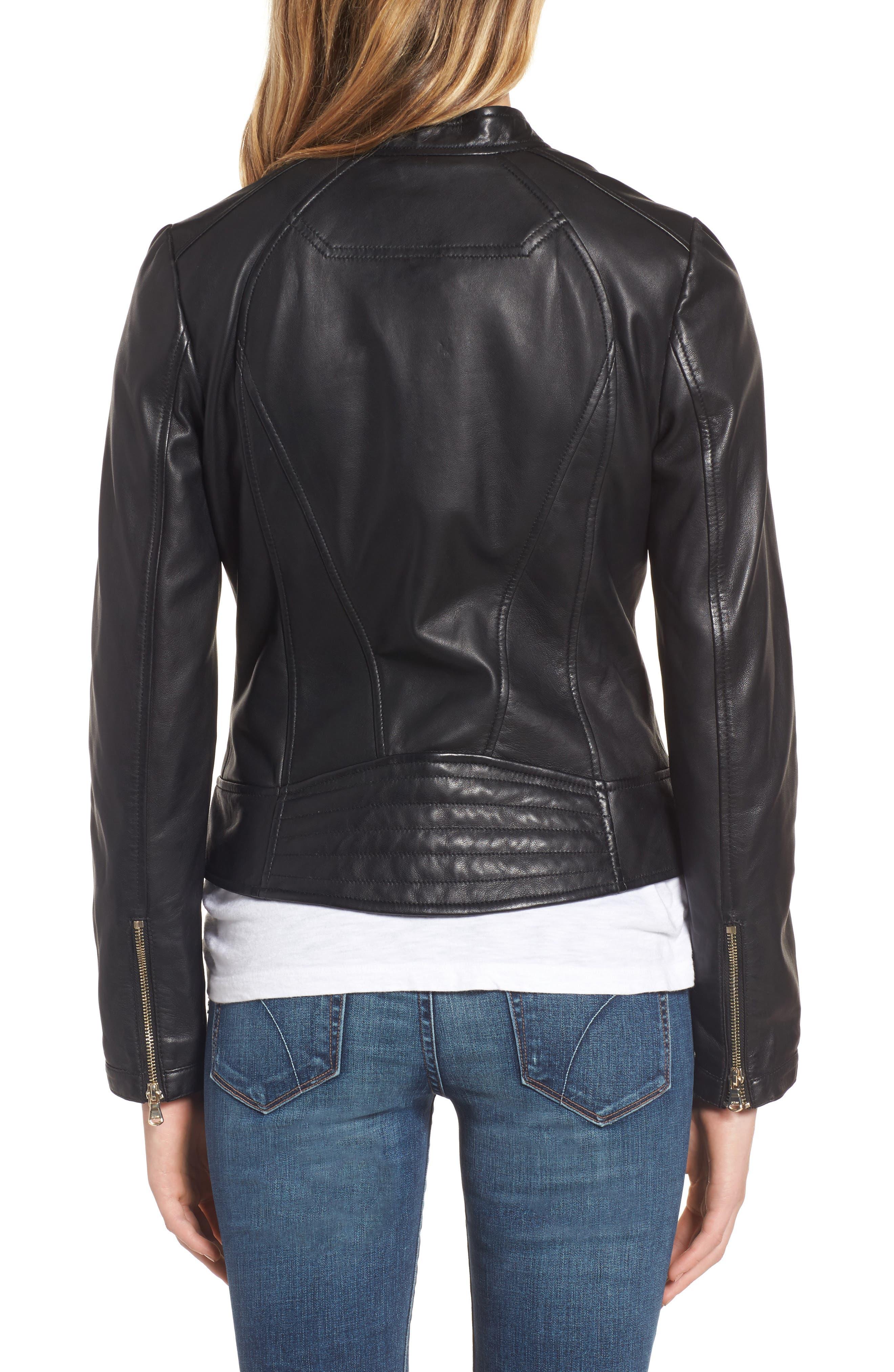 Collarless Leather Moto Jacket,                             Alternate thumbnail 2, color,                             001