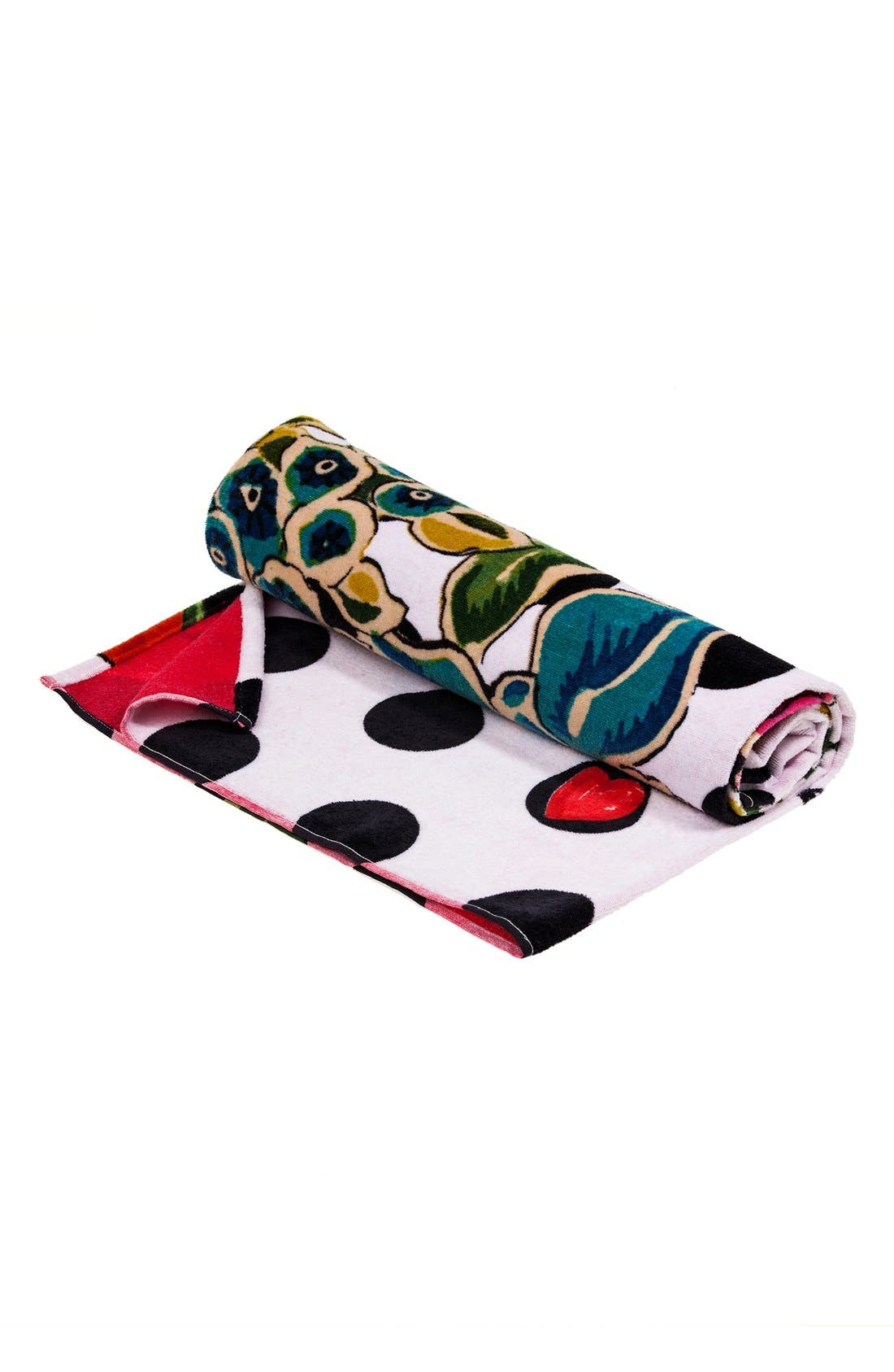 DESIGUAL,                             'Polka Dots' Bath Towel,                             Alternate thumbnail 3, color,                             100