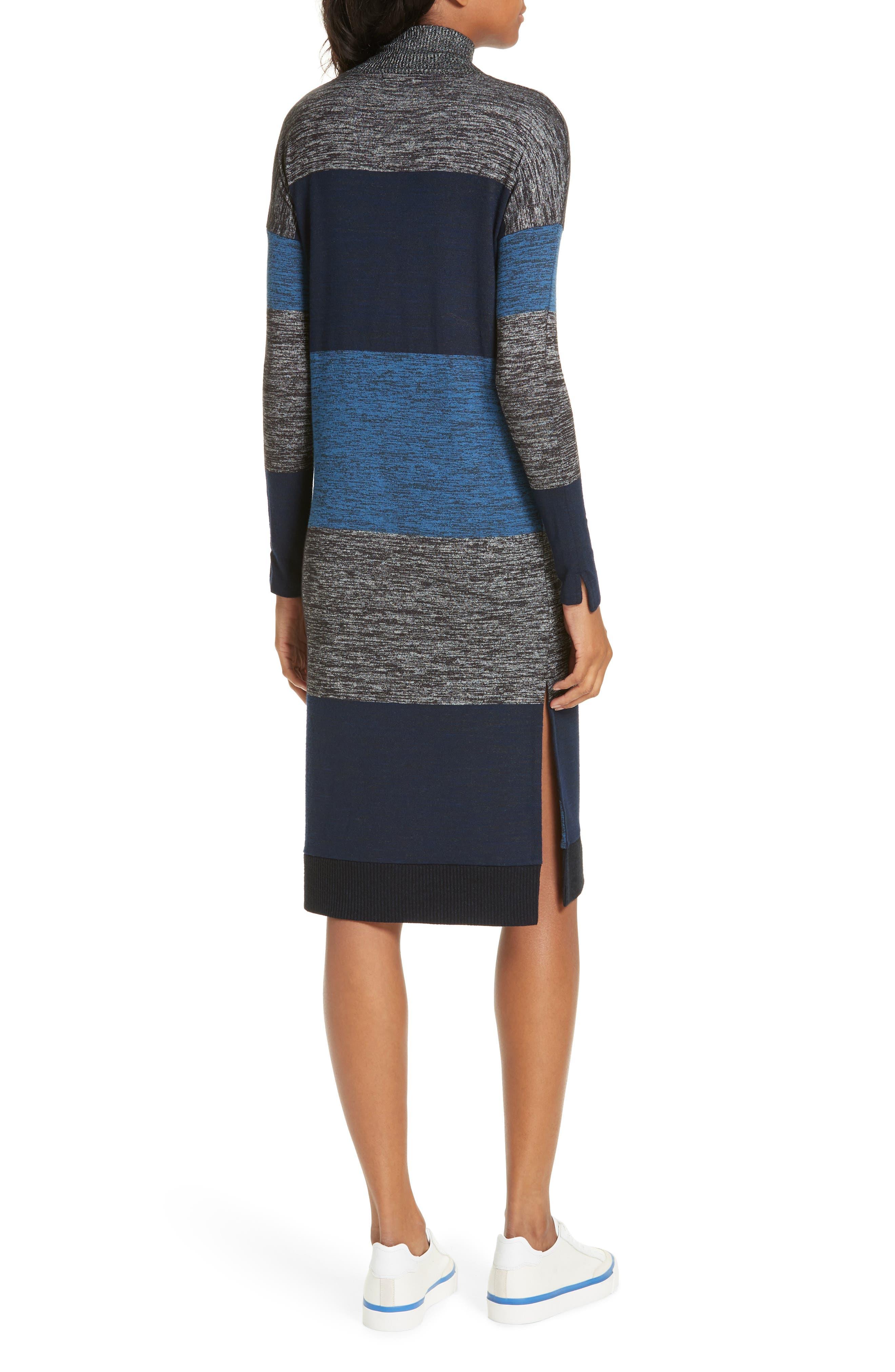 rag & bone Bowery Stripe Turtleneck Sweater Dress,                             Alternate thumbnail 2, color,                             BLUE STRIPE
