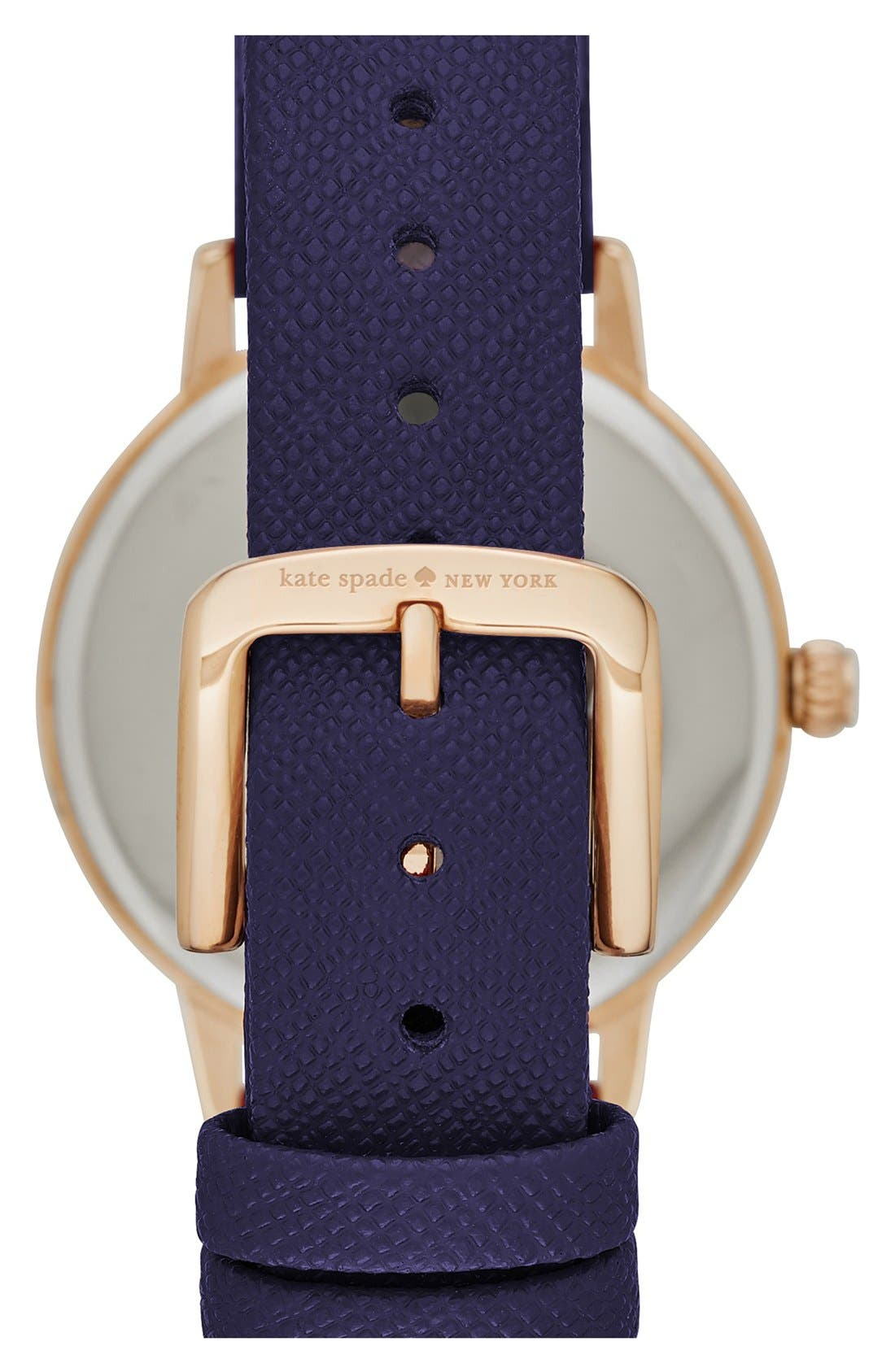 'metro - somewhere' leather strap watch, 34mm,                             Alternate thumbnail 2, color,                             BLUE/ WHITE