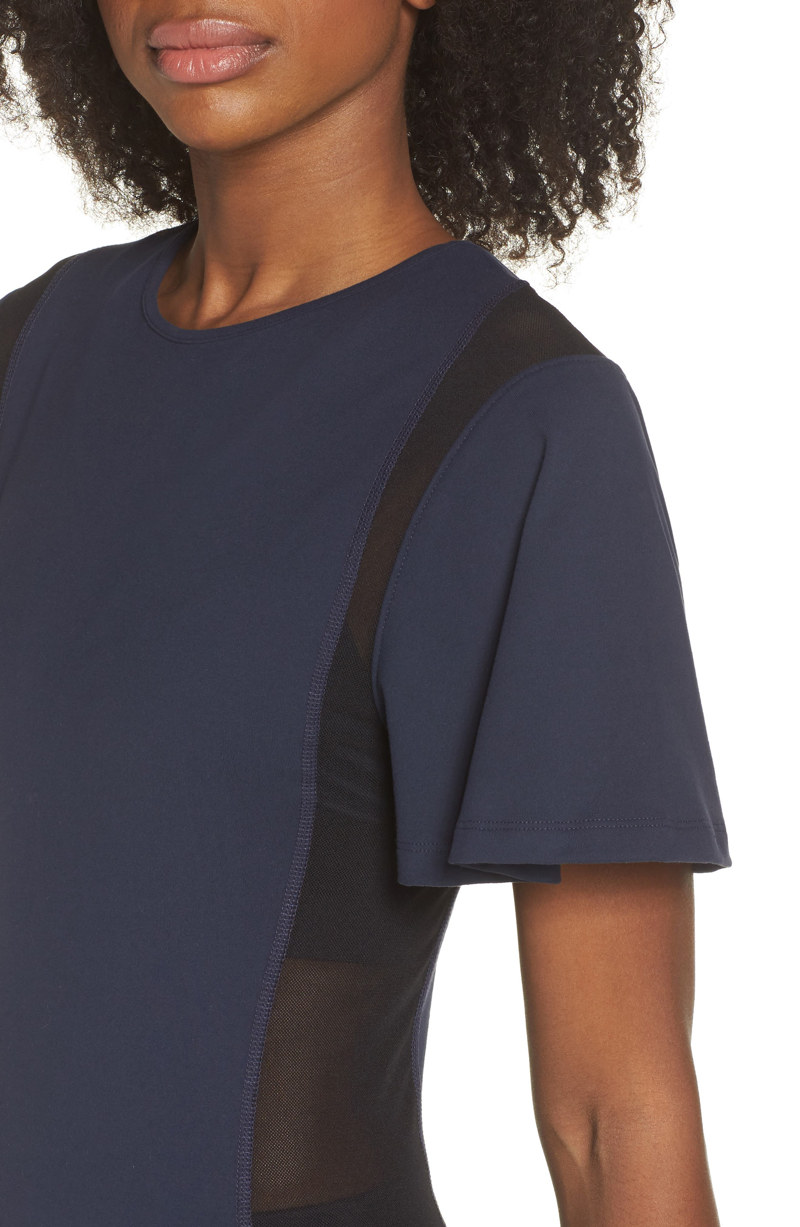BoomBoom Athletica Wing Sleeve Tee,                             Alternate thumbnail 4, color,                             NAVY/ BLACK