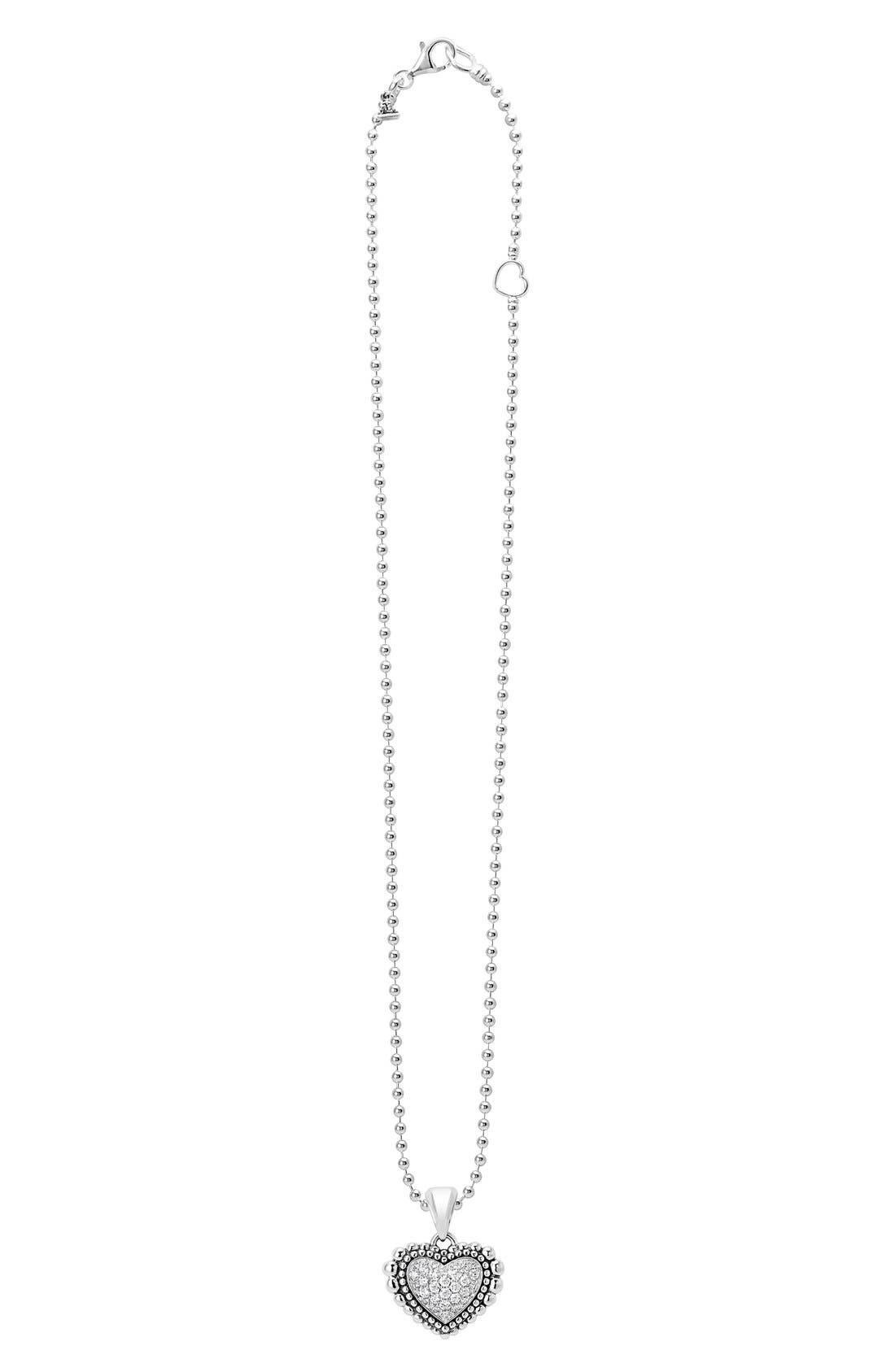 'Caviar' Diamond Heart Pendant Necklace,                             Main thumbnail 1, color,                             040