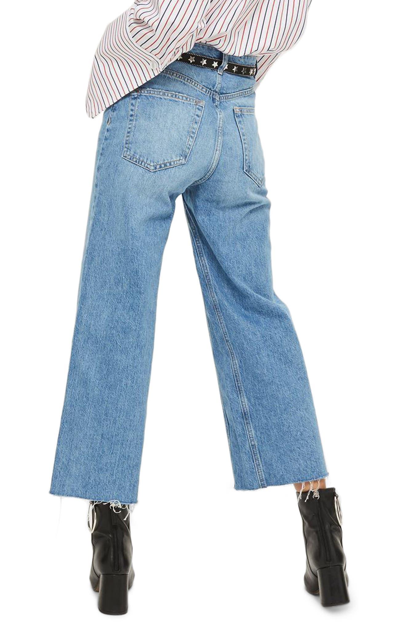 Crop Wide Leg Jeans,                             Alternate thumbnail 2, color,                             MID BLUE