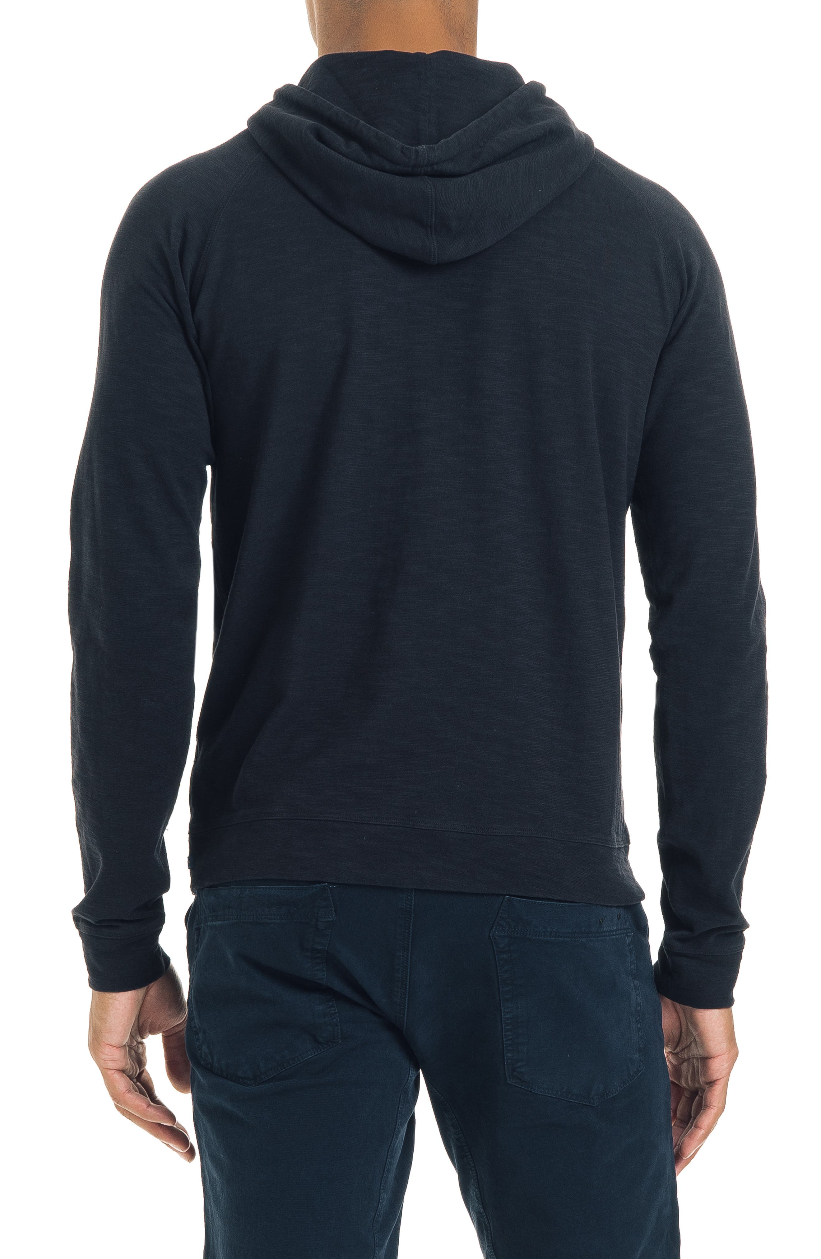 Long Sleeve Slim Fit Slub Hoodie,                             Alternate thumbnail 2, color,                             BLACK