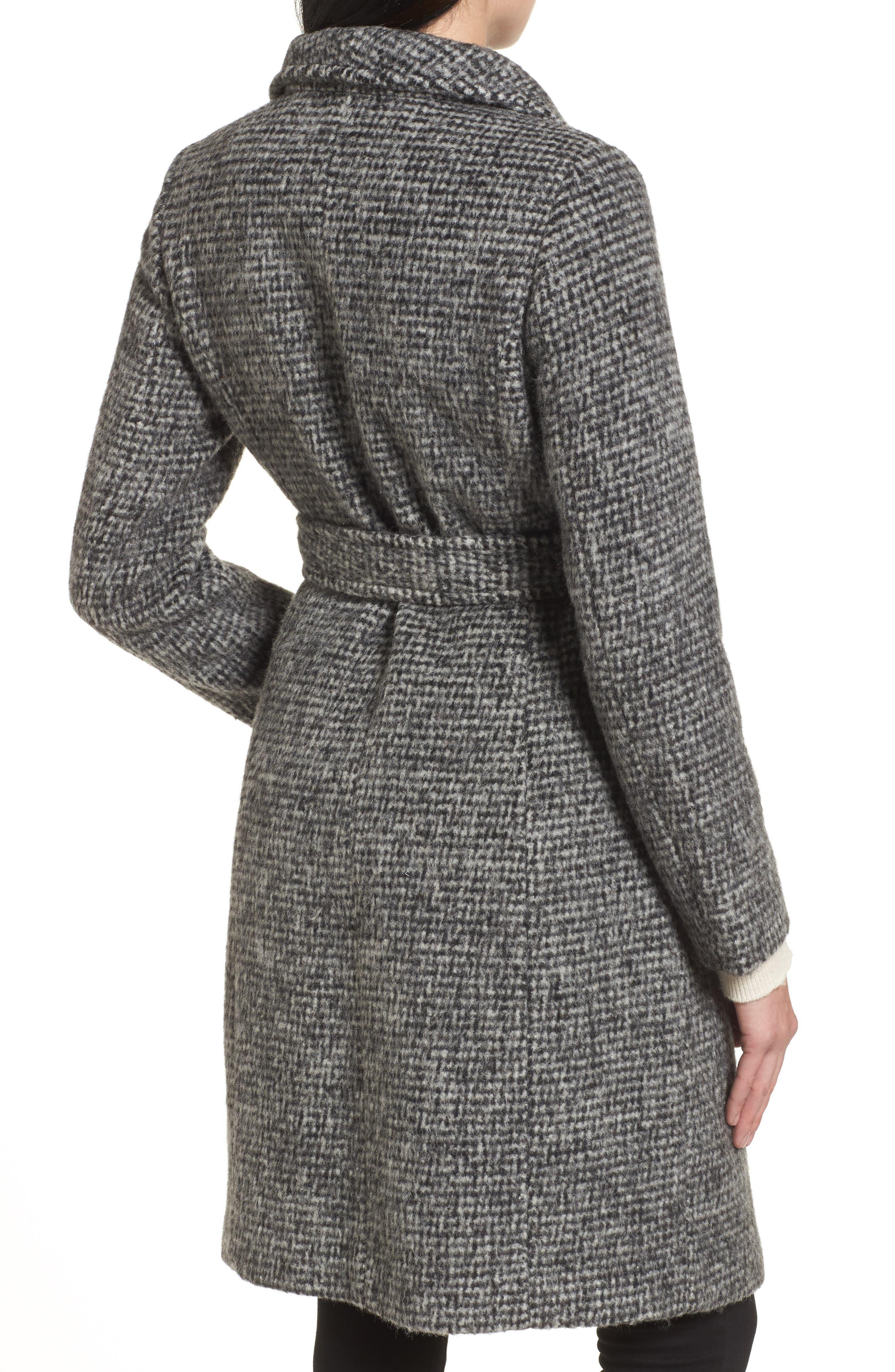 Wool Shawl Collar Wrap Coat,                             Alternate thumbnail 2, color,                             012