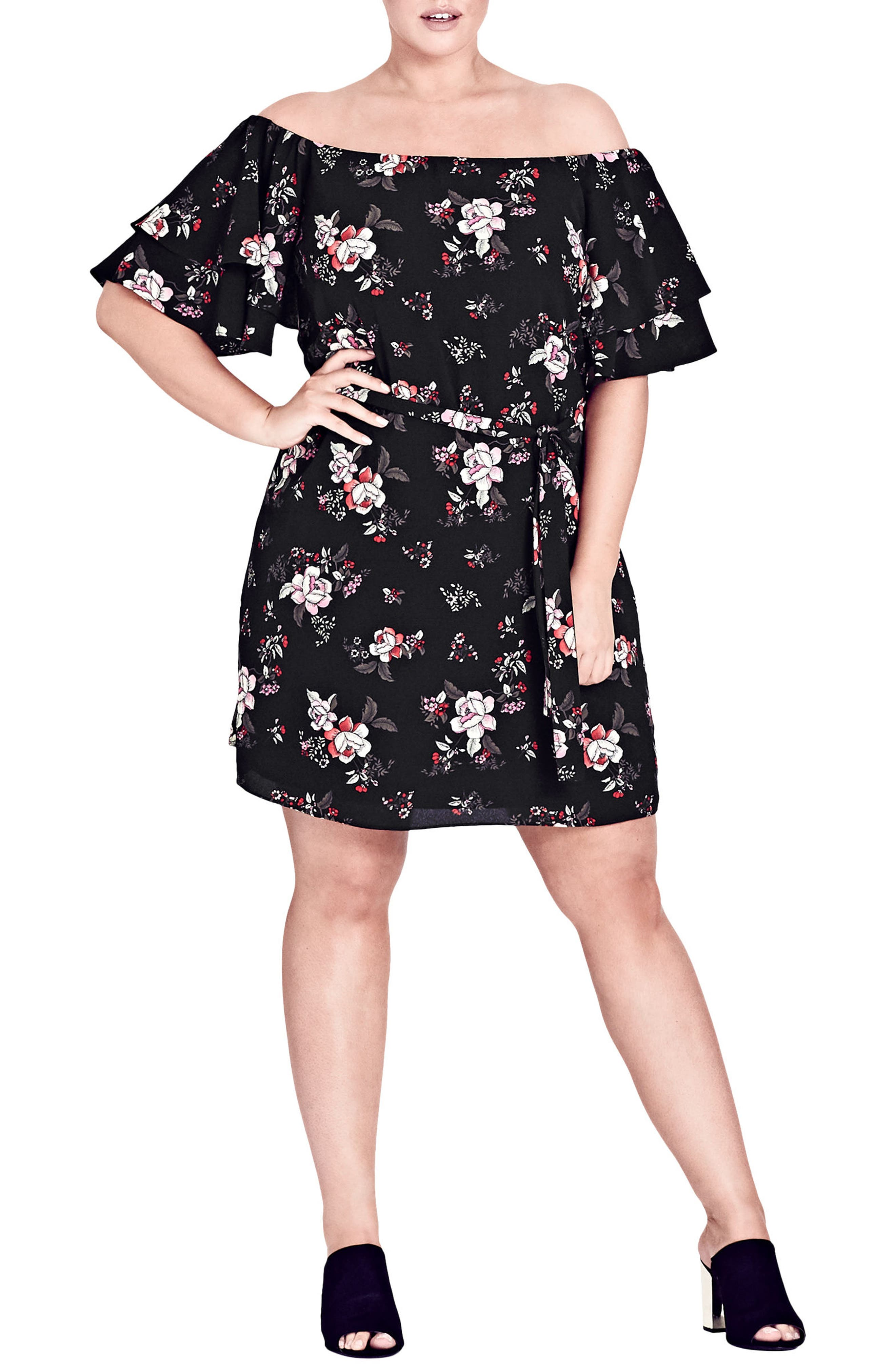 Plus Size City Chic Floral Dreaming Off The Shoulder Dress, Black