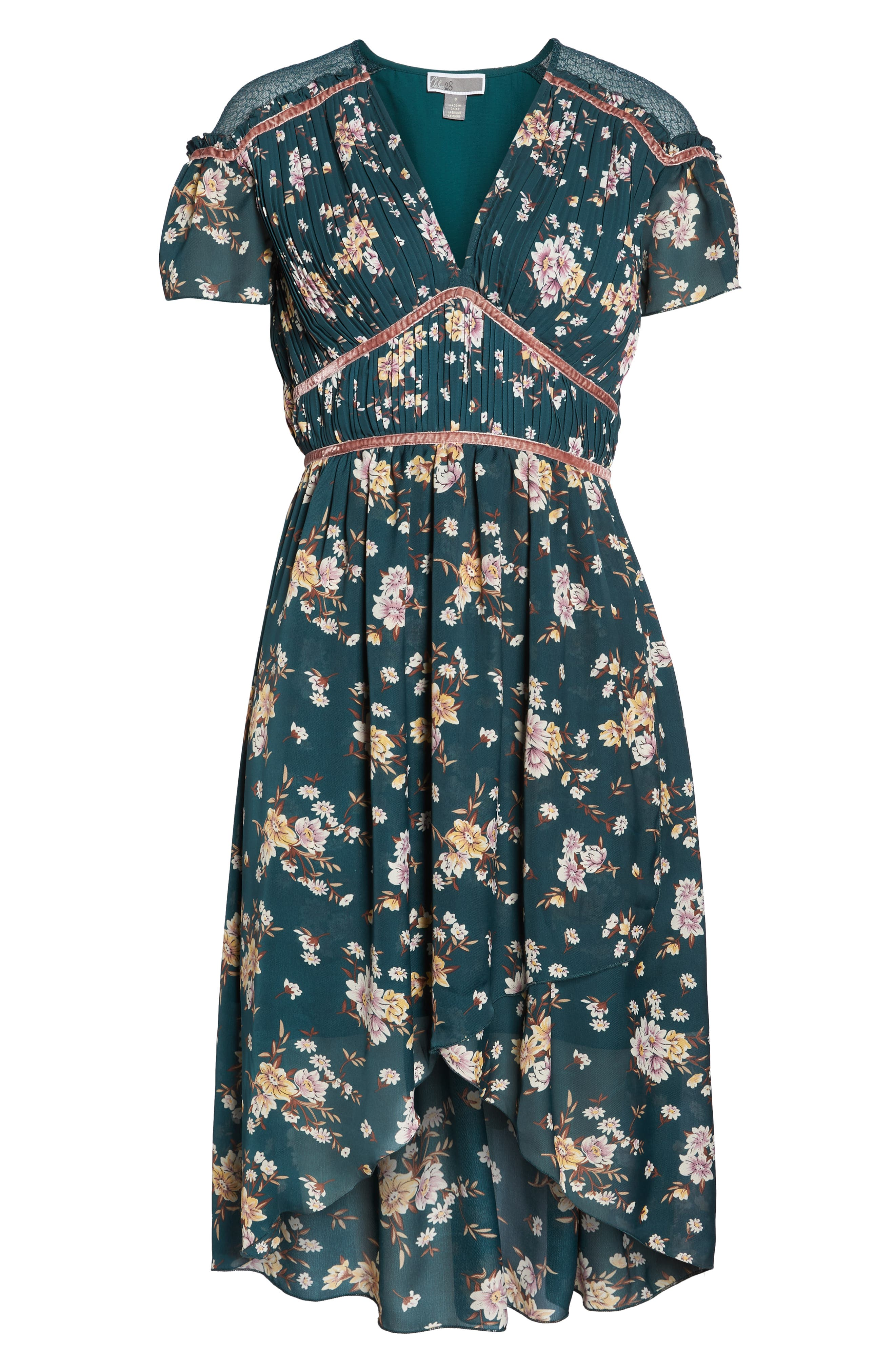 Floral Pleat & Lace Mix Dress,                             Alternate thumbnail 8, color,                             GREEN BRANCHING LILIES
