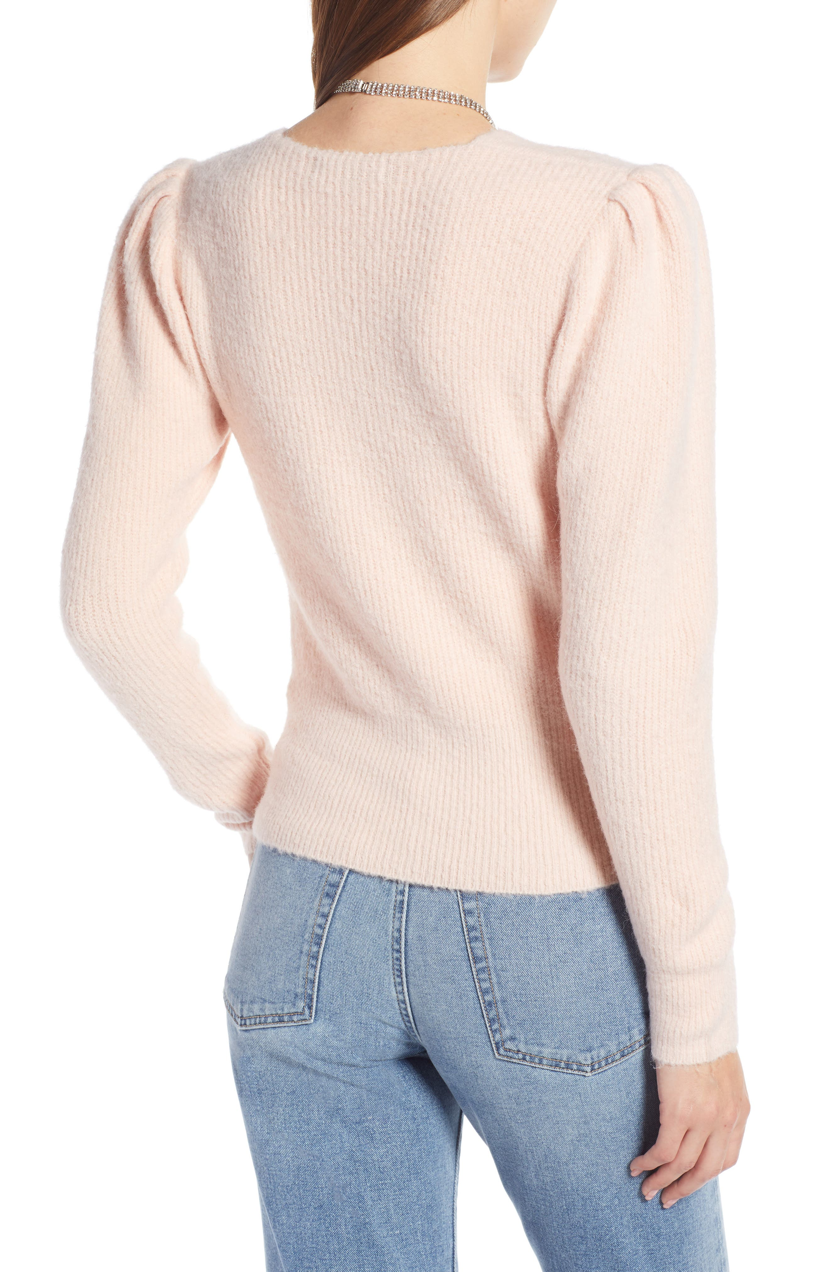Puff Sleeve Sweater,                             Alternate thumbnail 2, color,                             PINK SEASHELL