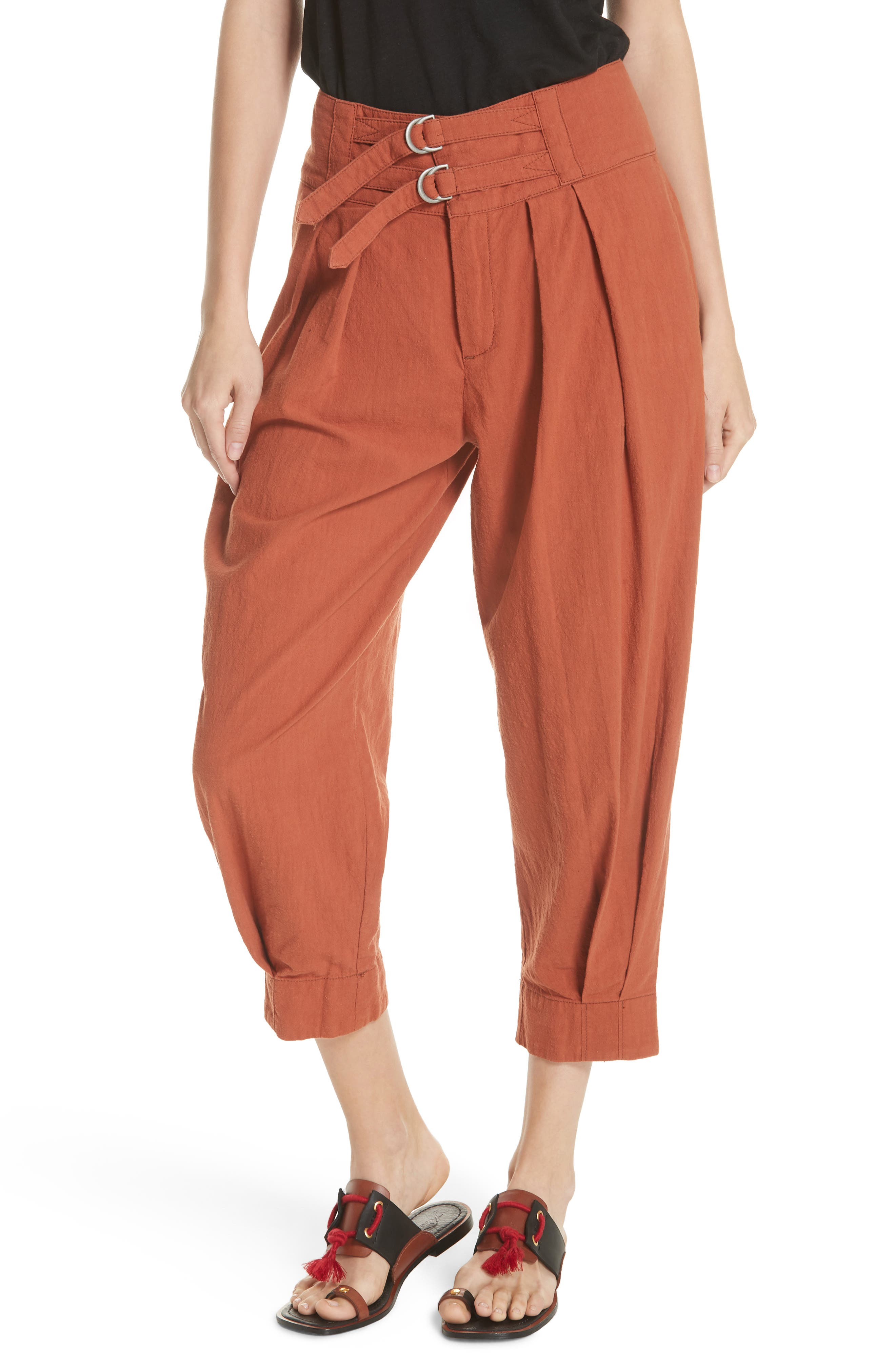 Double Buckle Crop Trousers,                             Main thumbnail 1, color,                             BROWN