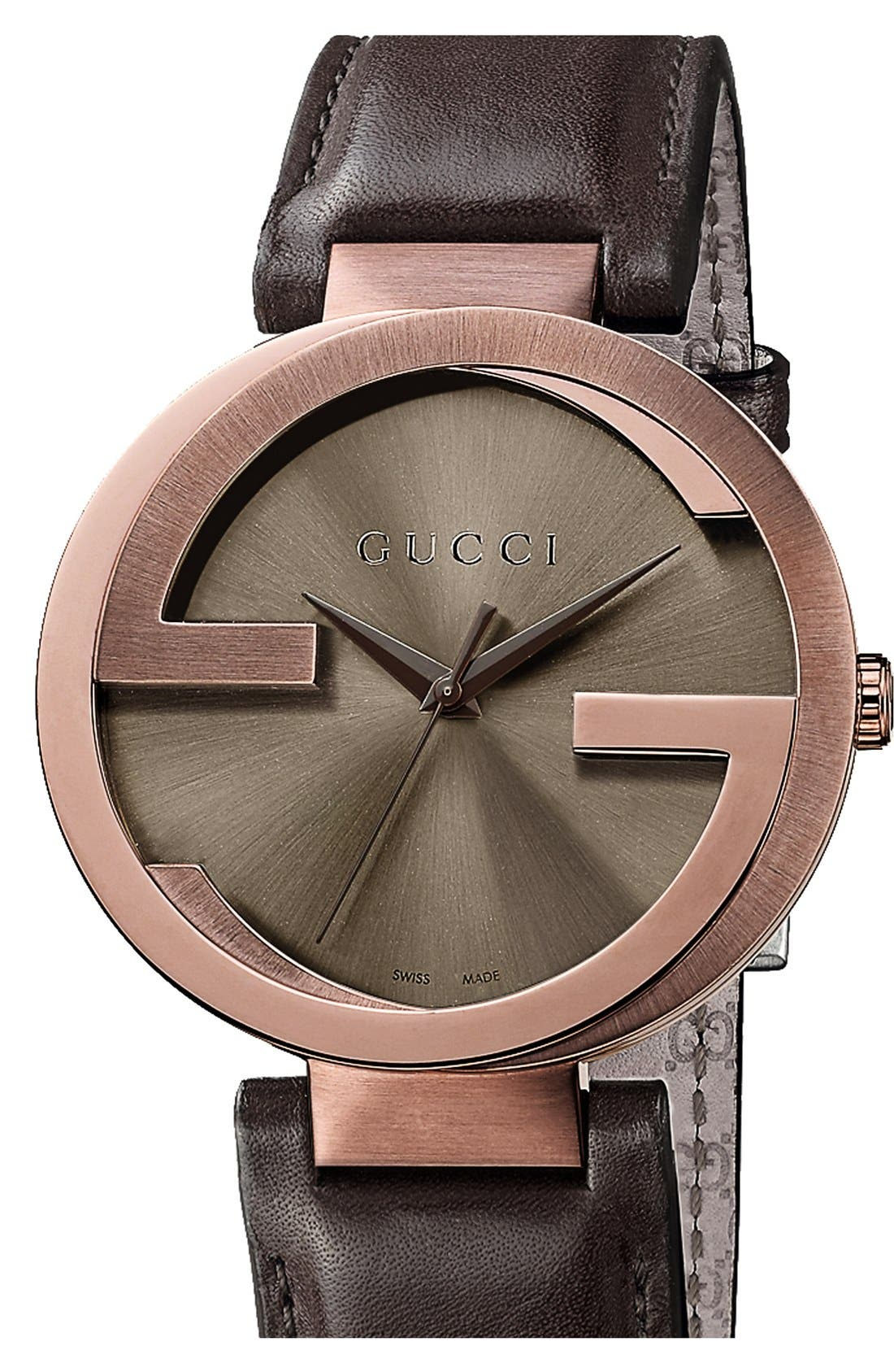 Interlocking Leather Strap Watch, 42mm,                         Main,                         color,