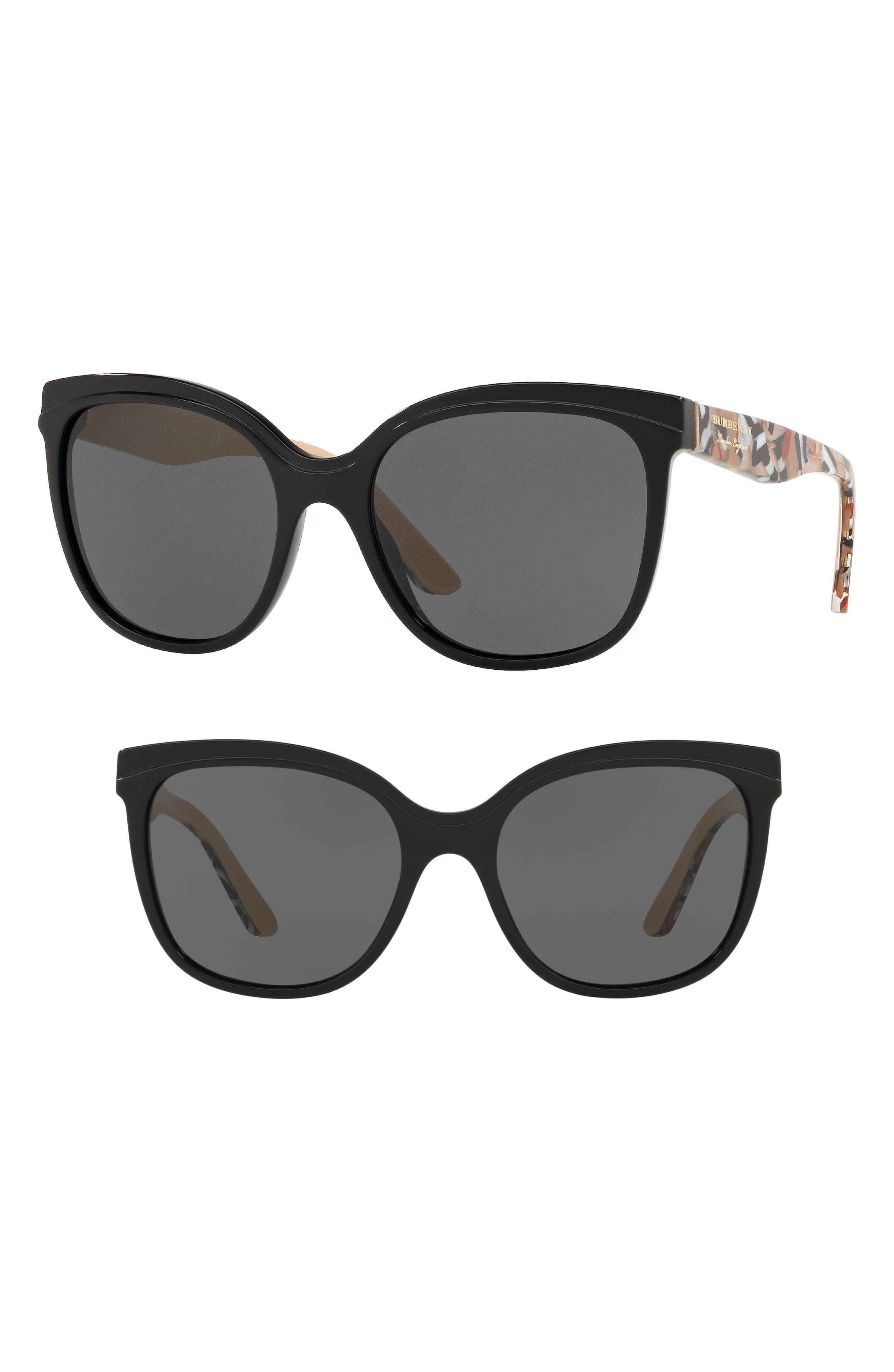 Marblecheck 55mm Square Sunglasses,                         Main,                         color, BLACK SOLID
