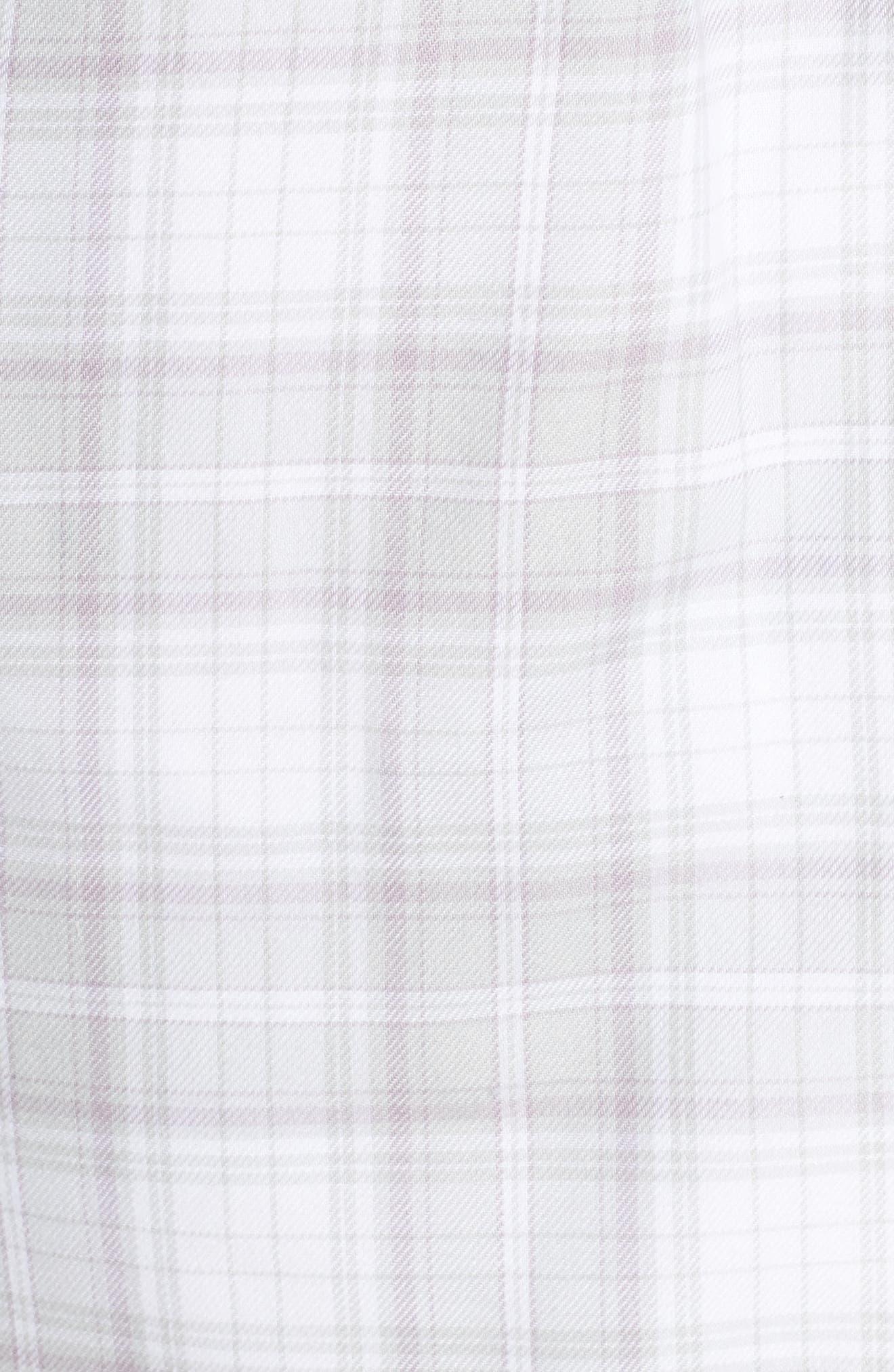 Anika Fleece Lined Flannel Robe,                             Alternate thumbnail 5, color,                             LAVENDER AURA PLAID